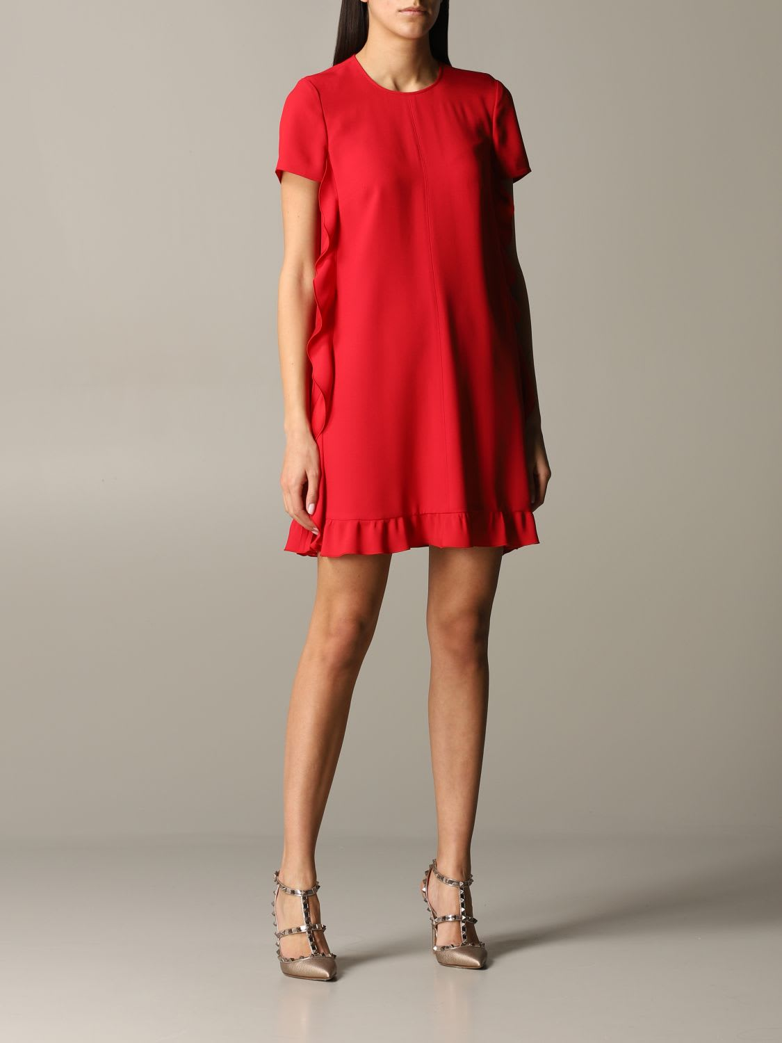 Buy Red Valentino Dress Red Valentino Silk Dress With Ruffles online, shop RED Valentino with free shipping