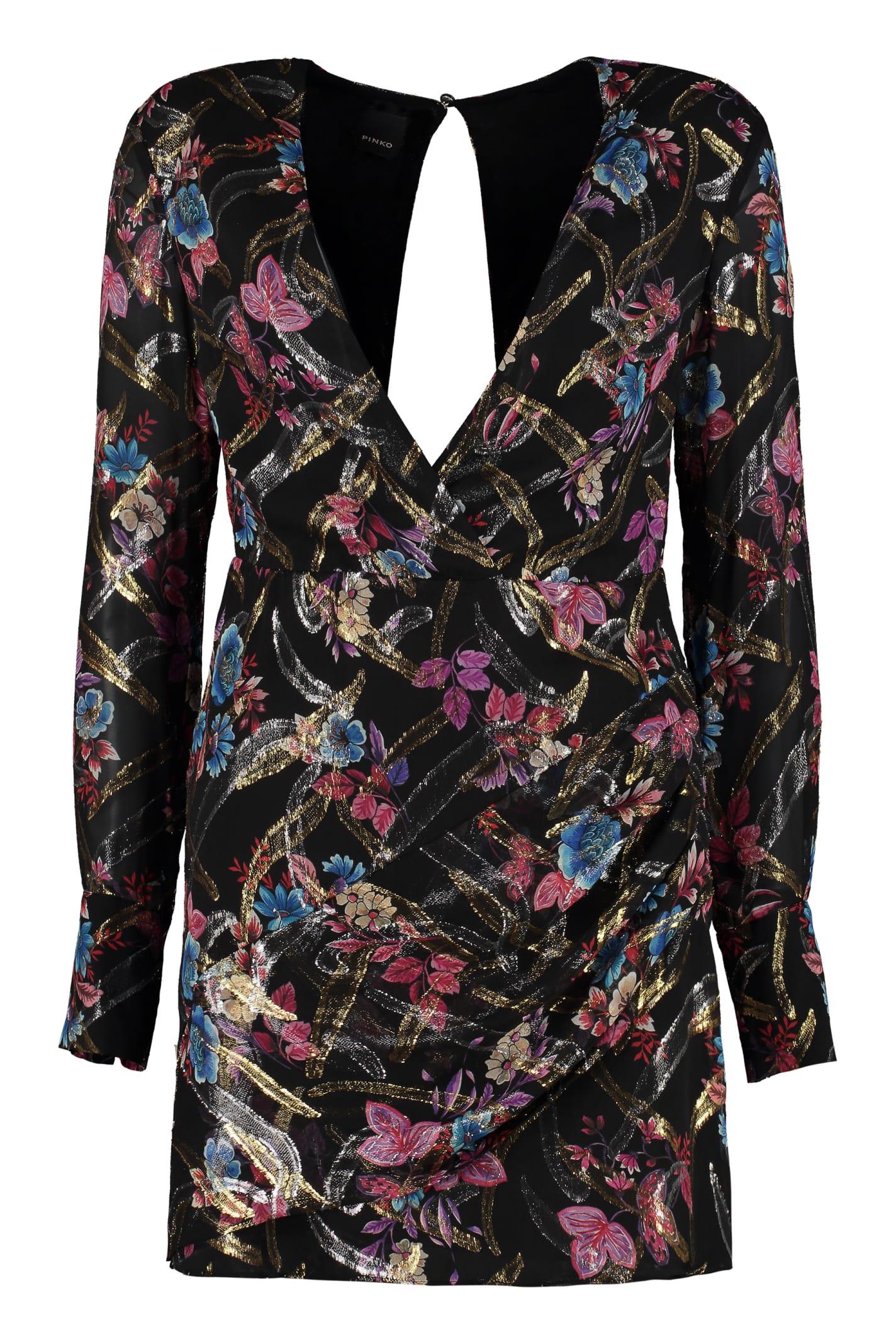 Pinko Stupefare Silk Floral Dress