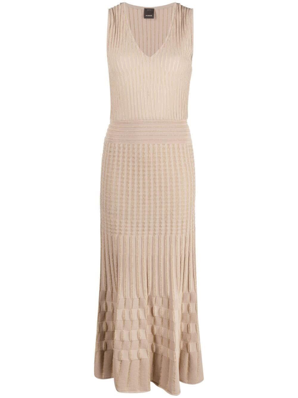 Pinko LONG BEIGE COTTON LUREX DRESS