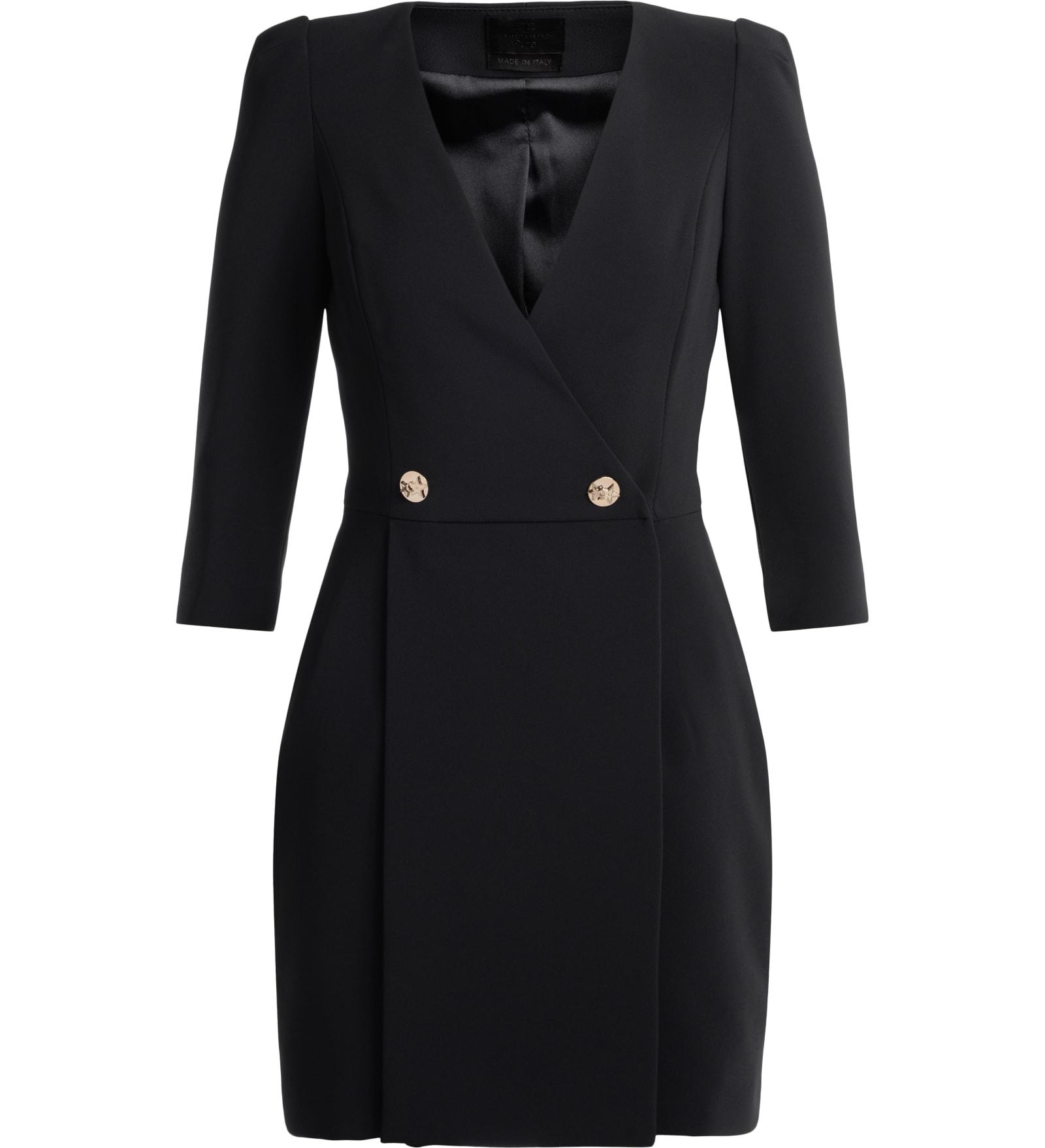 Elisabetta Franchi Black Wallet Dress With Three-quarter Sleeves