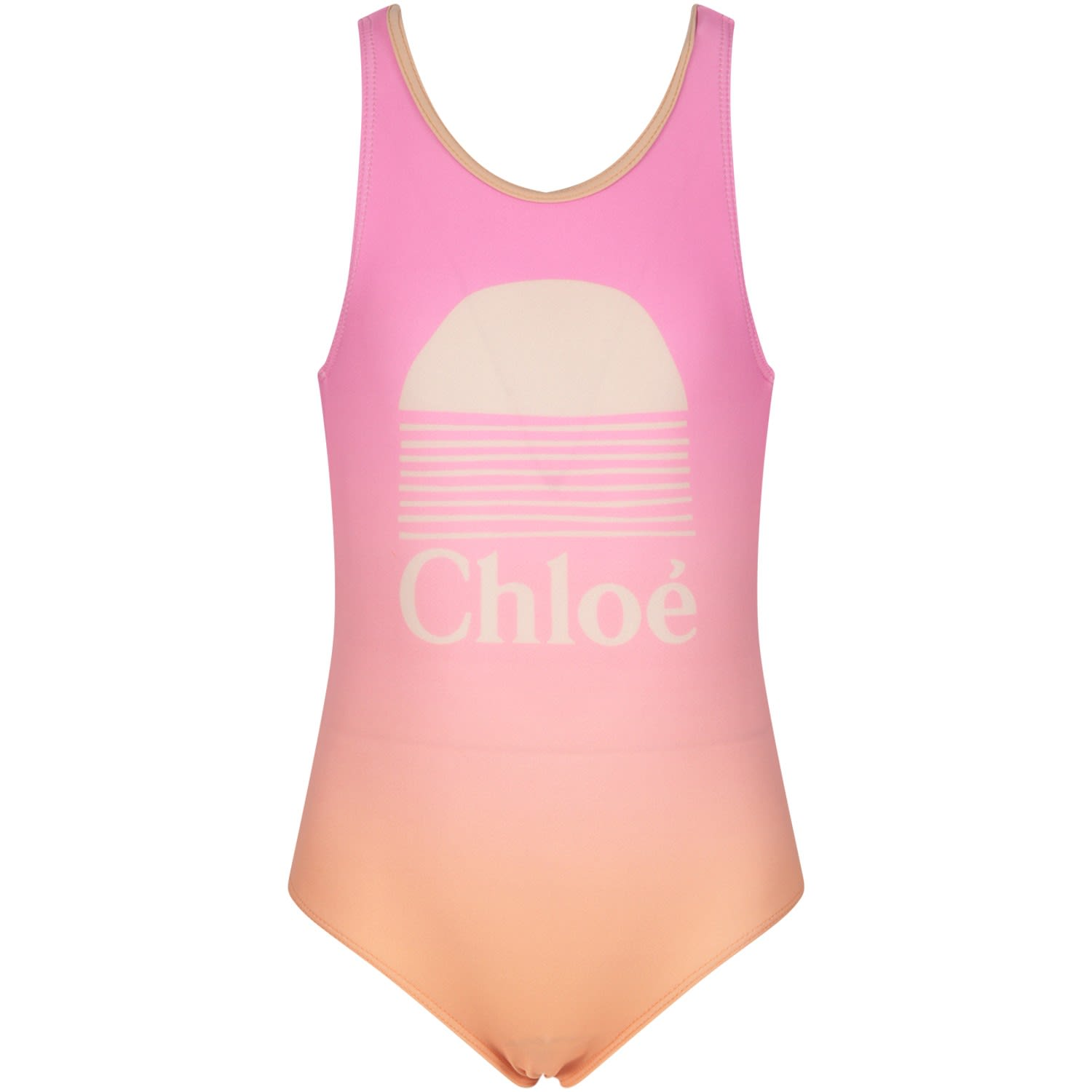 Chloé MULTICOLOR GIRL SWIMSUIT WITH LOGO
