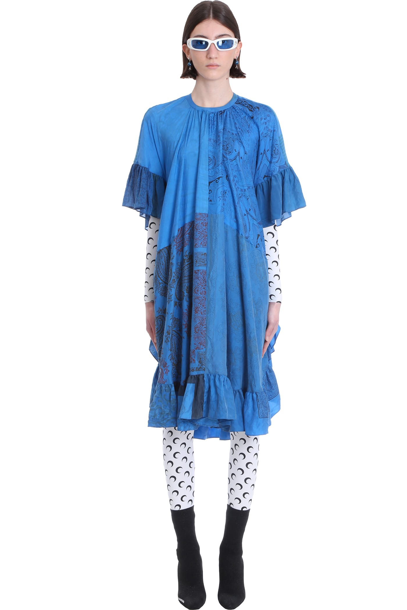Buy Marine Serre Silk Scarves A-line Gathered Dress Dress In Blue Silk online, shop Marine Serre with free shipping
