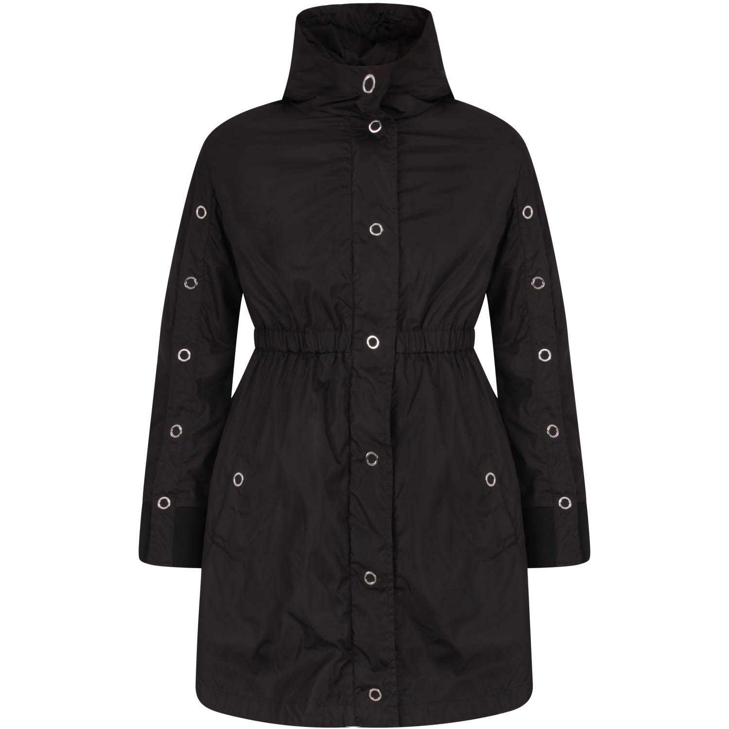 Moncler Black Parka For Girl With Iconic Patch