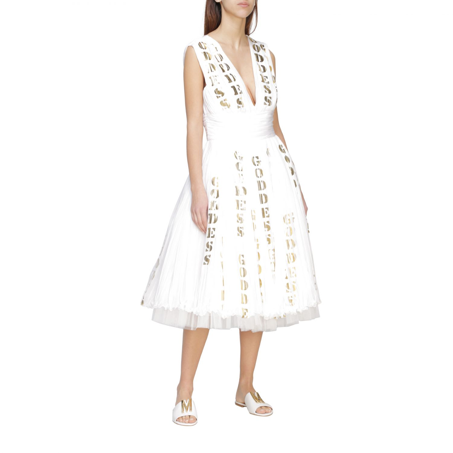 Buy Moschino Couture Dress Moschino Couture Pleated Chiffon Dress With Laminated Prints online, shop Moschino with free shipping