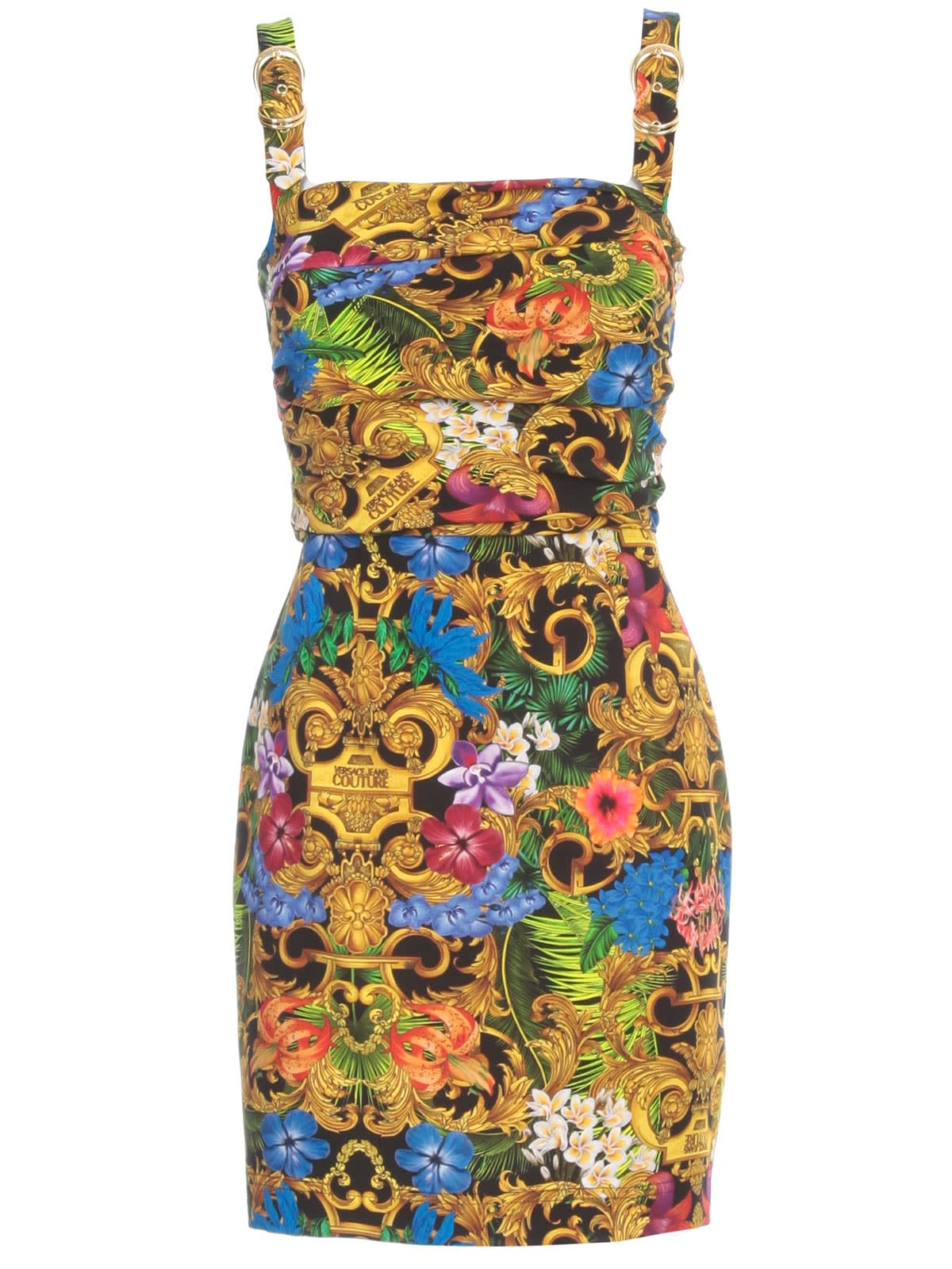 Buy Versace Jeans Couture Short Pencil Dress Thin Strap W/buckle online, shop Versace Jeans Couture with free shipping