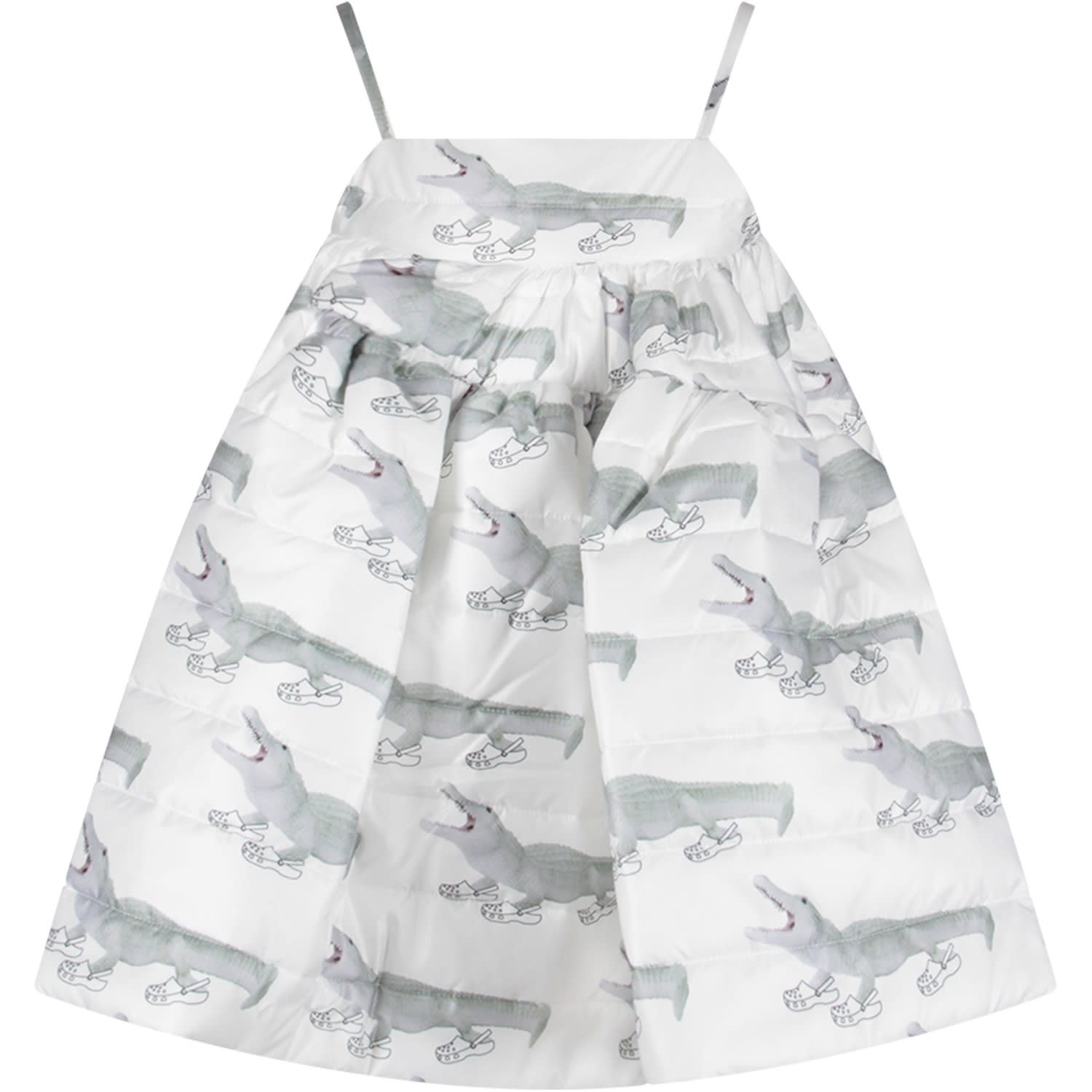 Photo of  Caroline Bosmans White Girl Dress With Green Crocodiles- shop Caroline Bosmans  online sales