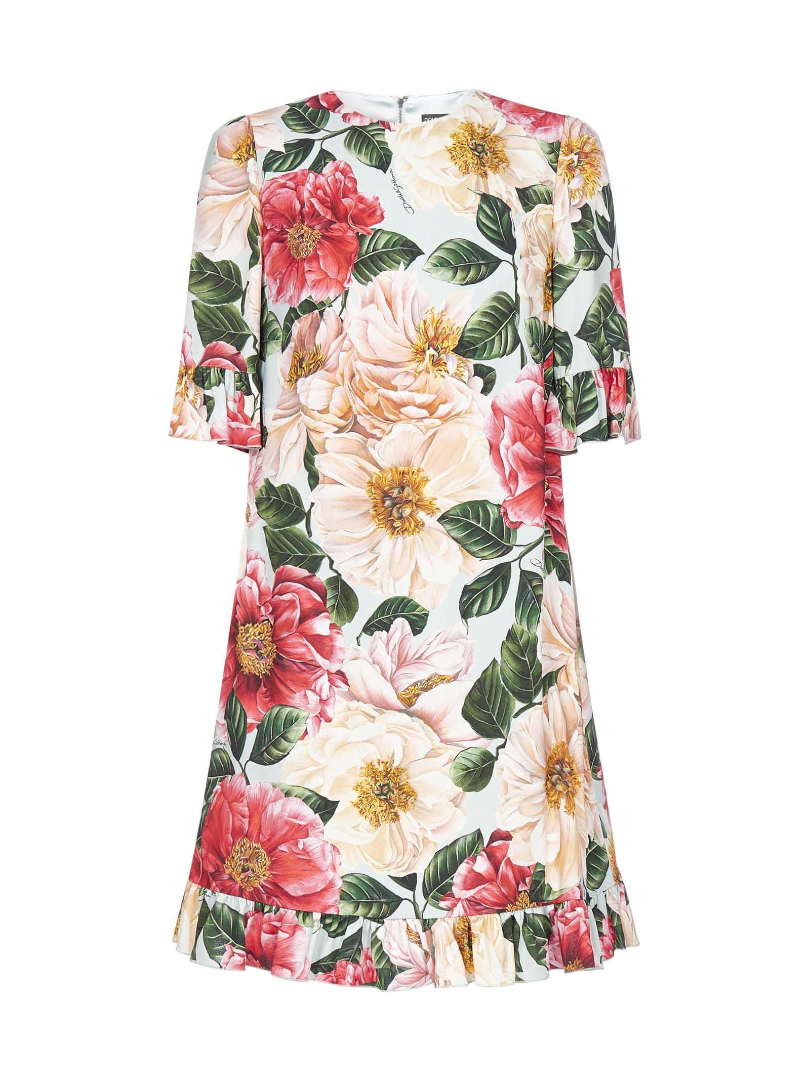 Buy Dolce & Gabbana Camellia-print Viscose Mini Dress online, shop Dolce & Gabbana with free shipping