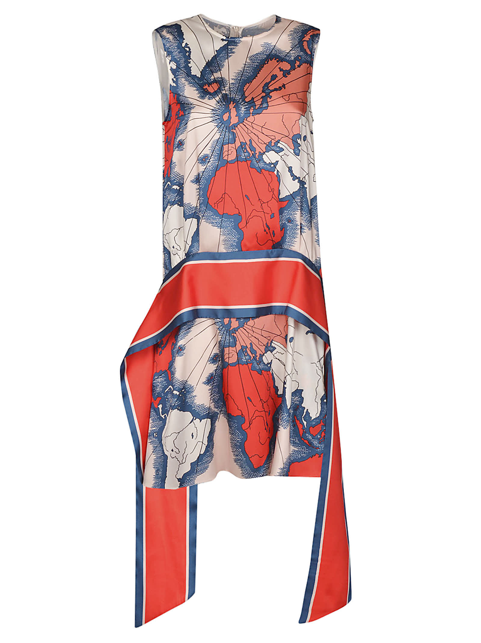 Victoria Beckham Printed Heavy Poly Twill Map Print Dress