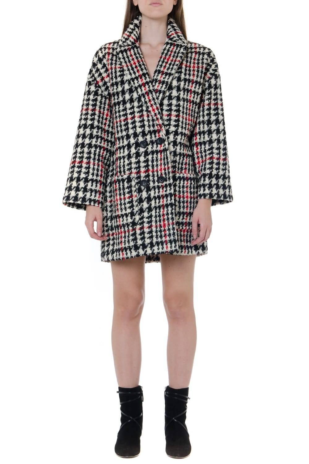 RED Valentino Virgin Wool Double Breasted Houndstooth Coat