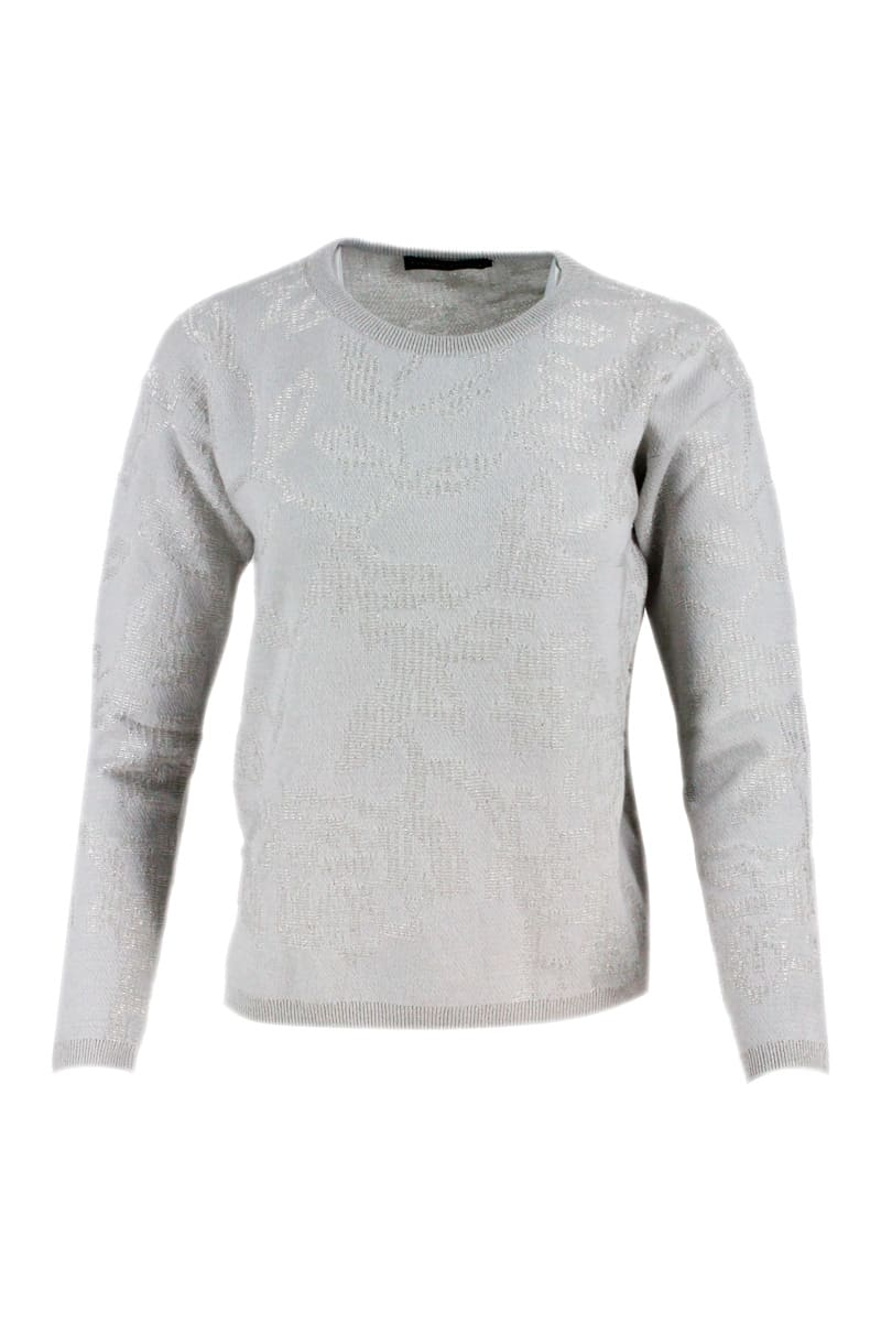 Fabiana Filippi LONG-SLEEVED CASHMERE CREWNECK SWEATER WITH LUREX JACQUARD INLAYS