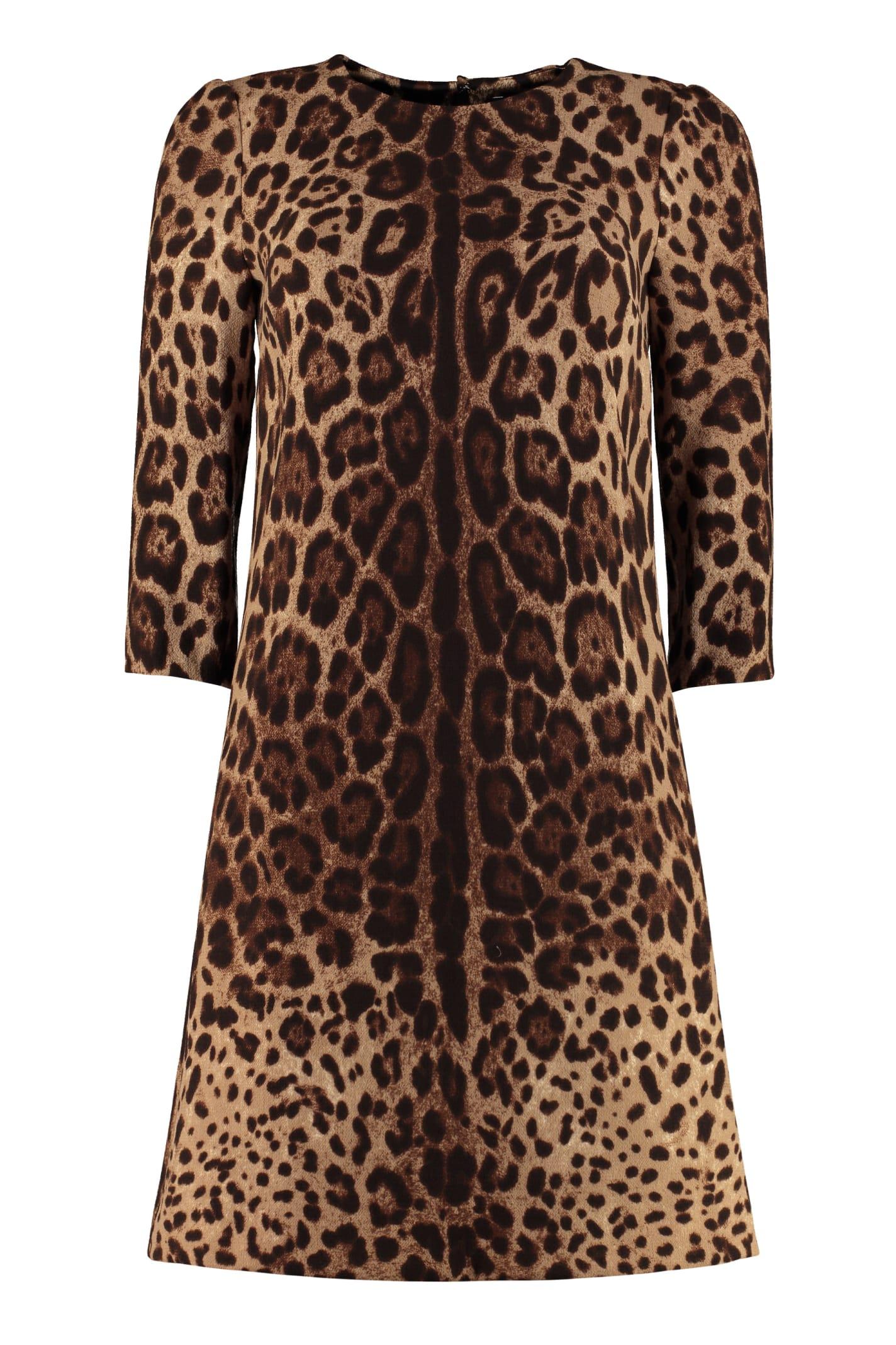 Dolce & Gabbana Leopard Print Sheath Dress