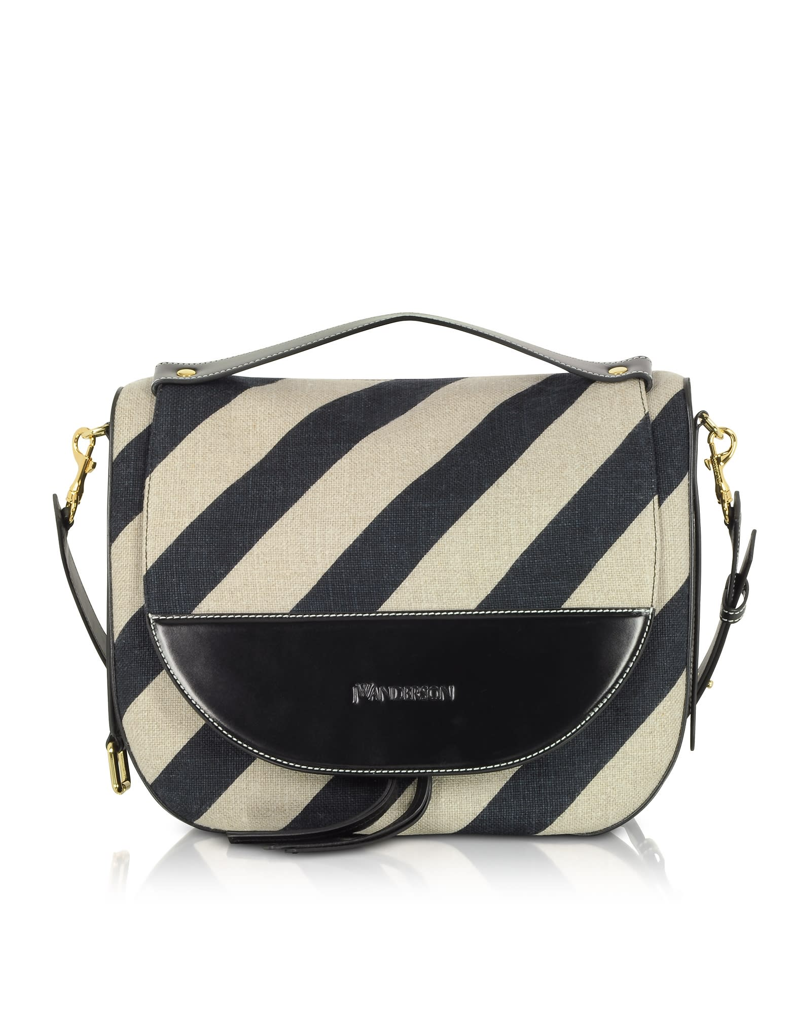 Jw Anderson Black And Off White Striped Linen Moon Shoulder Bag