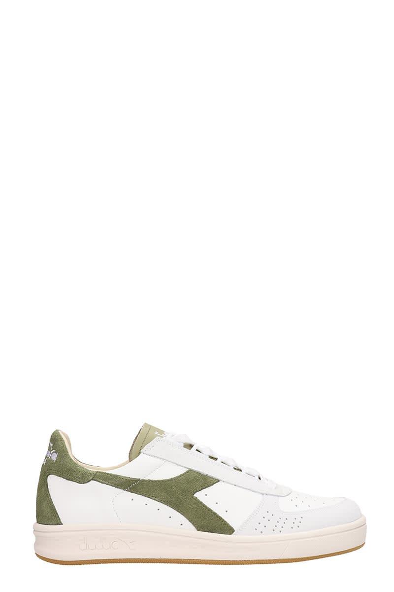 5dd149e5 Diadora B.elite White/green Leather And Suede Sneakers