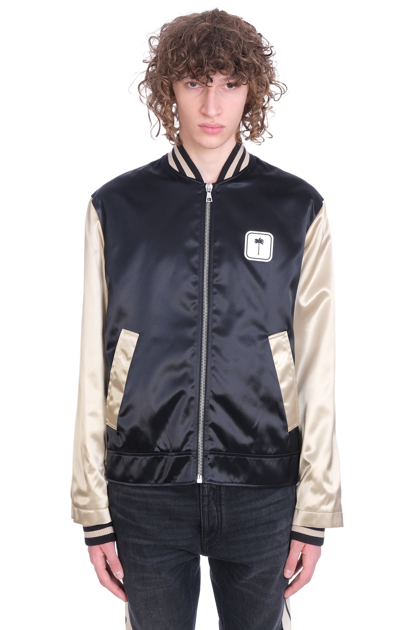 Palm Angels Bomber In Black Viscose