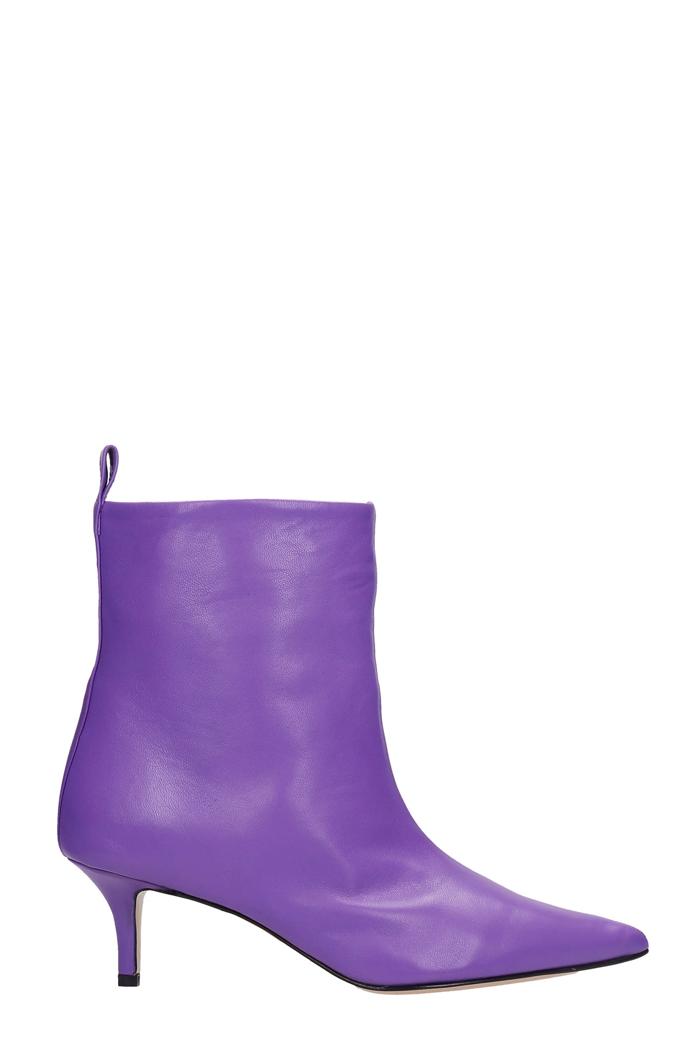 Bella Low Heels Ankle Boots In Viola Leather