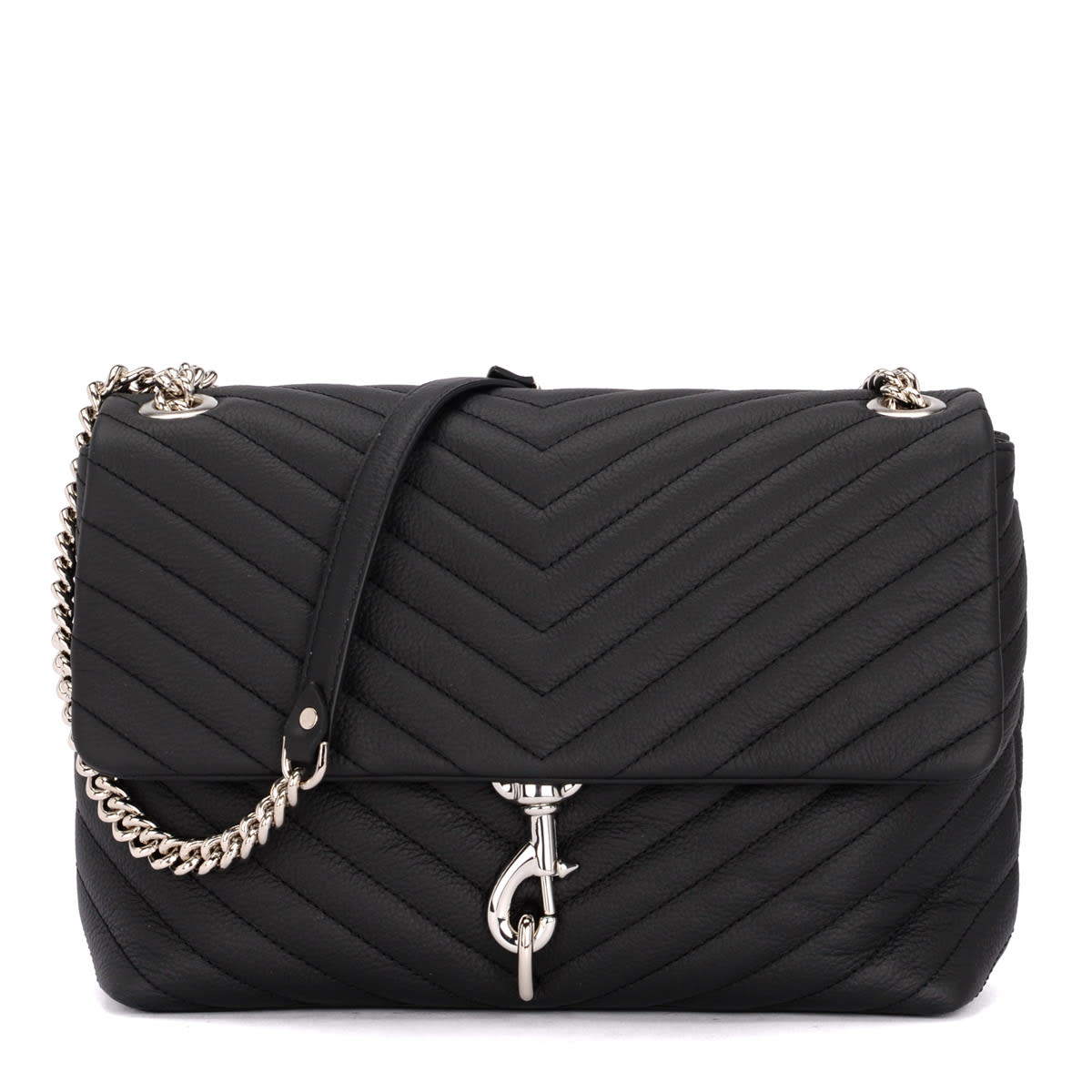 69cea2a09 Rebecca Minkoff Edie Flap Black Quilted Leather Shoulder Bag - NERO ...