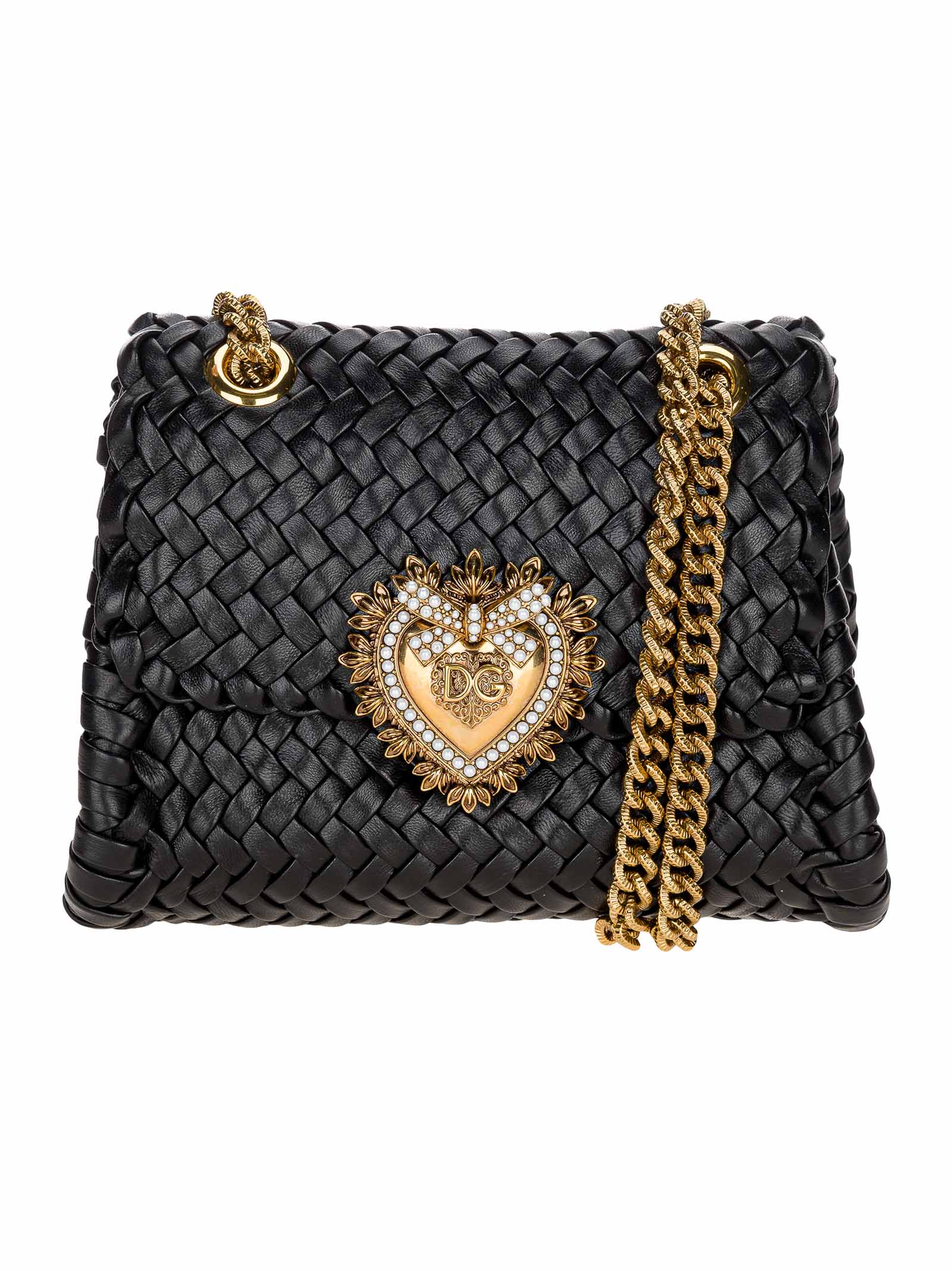Dolce & Gabbana Leathers DOLCE & GABBANA SMALL DEVOTION SHOULDER BAG IN WOVEN NAPPA LEATHER