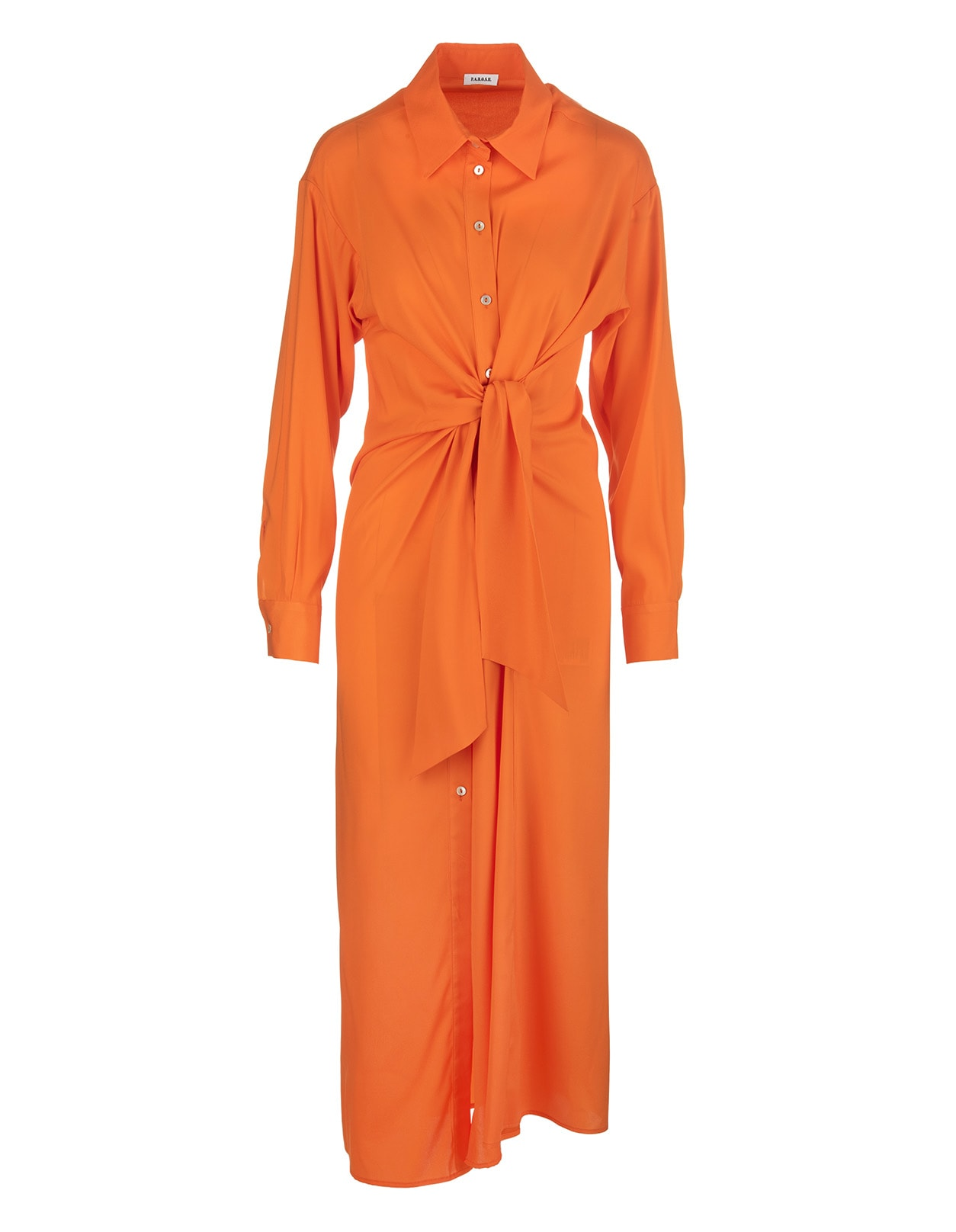 Chemisier long dress by A.R.O.H. in orange silk blend with classic collar, front buttoning, long sleeves, cuffs with button, belt with front knot and soft fit. Composition: 93% Silk, 7% Elastane