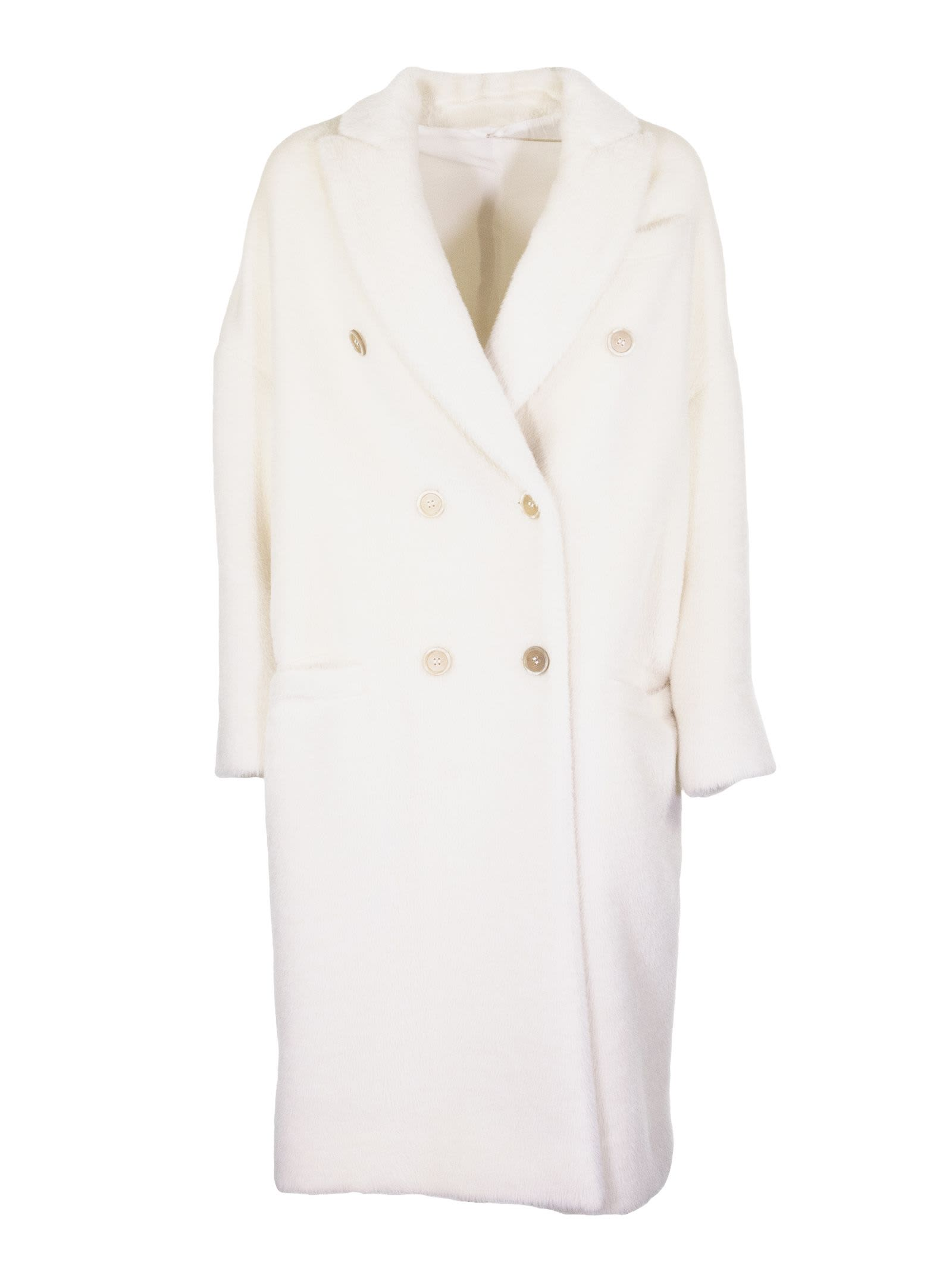 Brunello Cucinelli Alpaca Coat And Ivory-colored Virgin Wool
