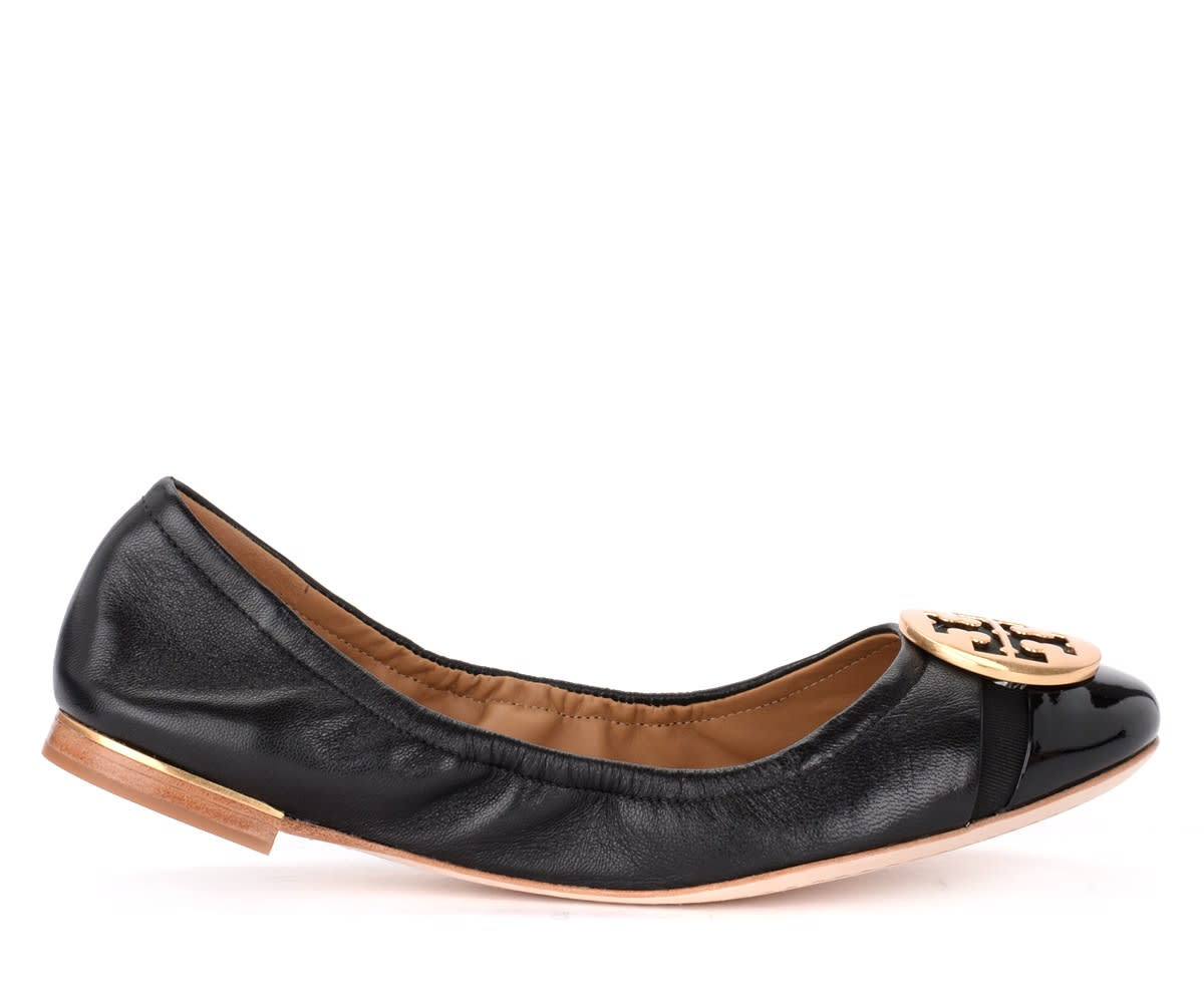 Buy Ballerina Tory Burch Minnie Cap-toe In Pelle E Vernice Nera online, shop Tory Burch shoes with free shipping