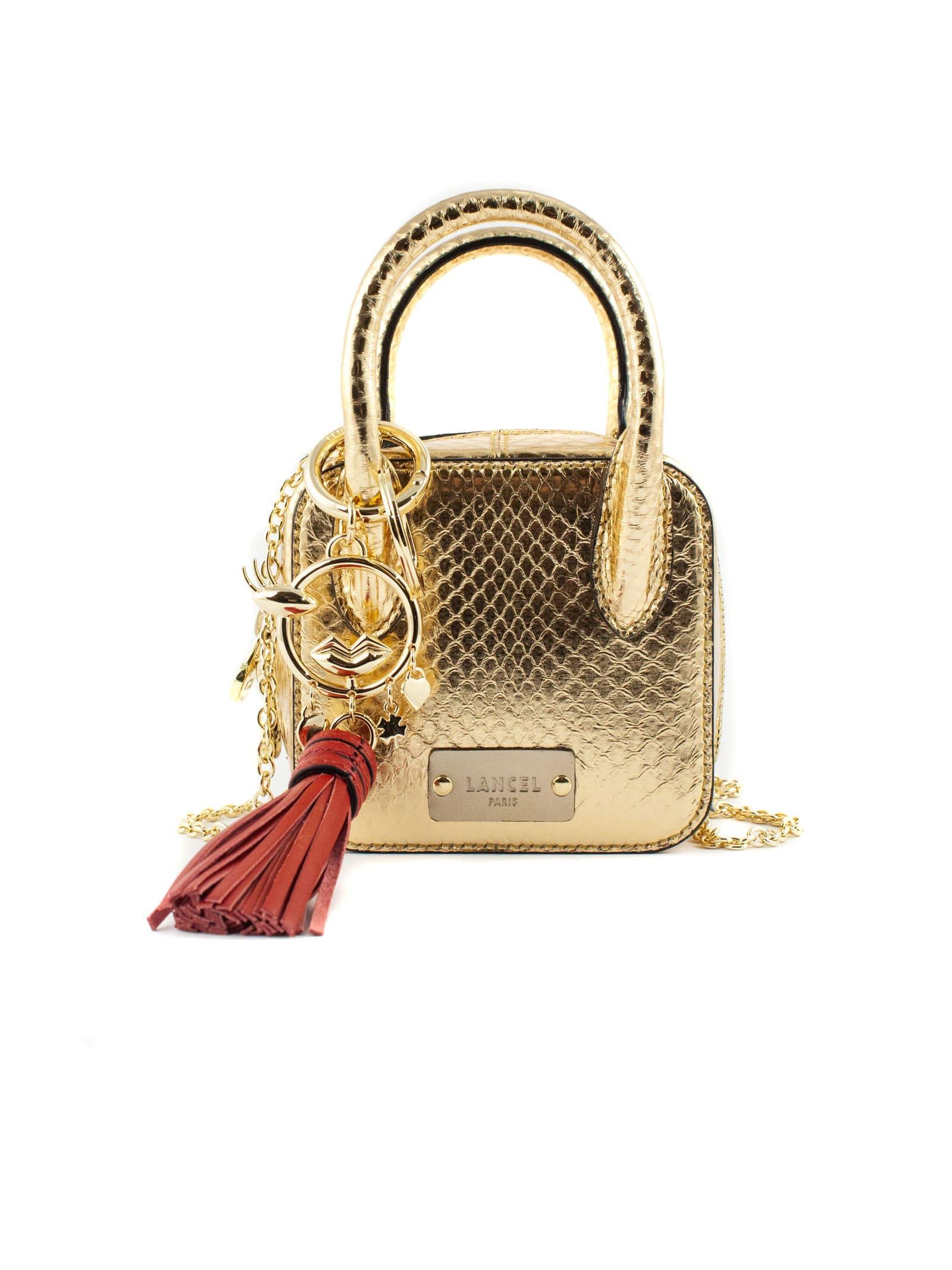 Gold-tone Leather Handbag