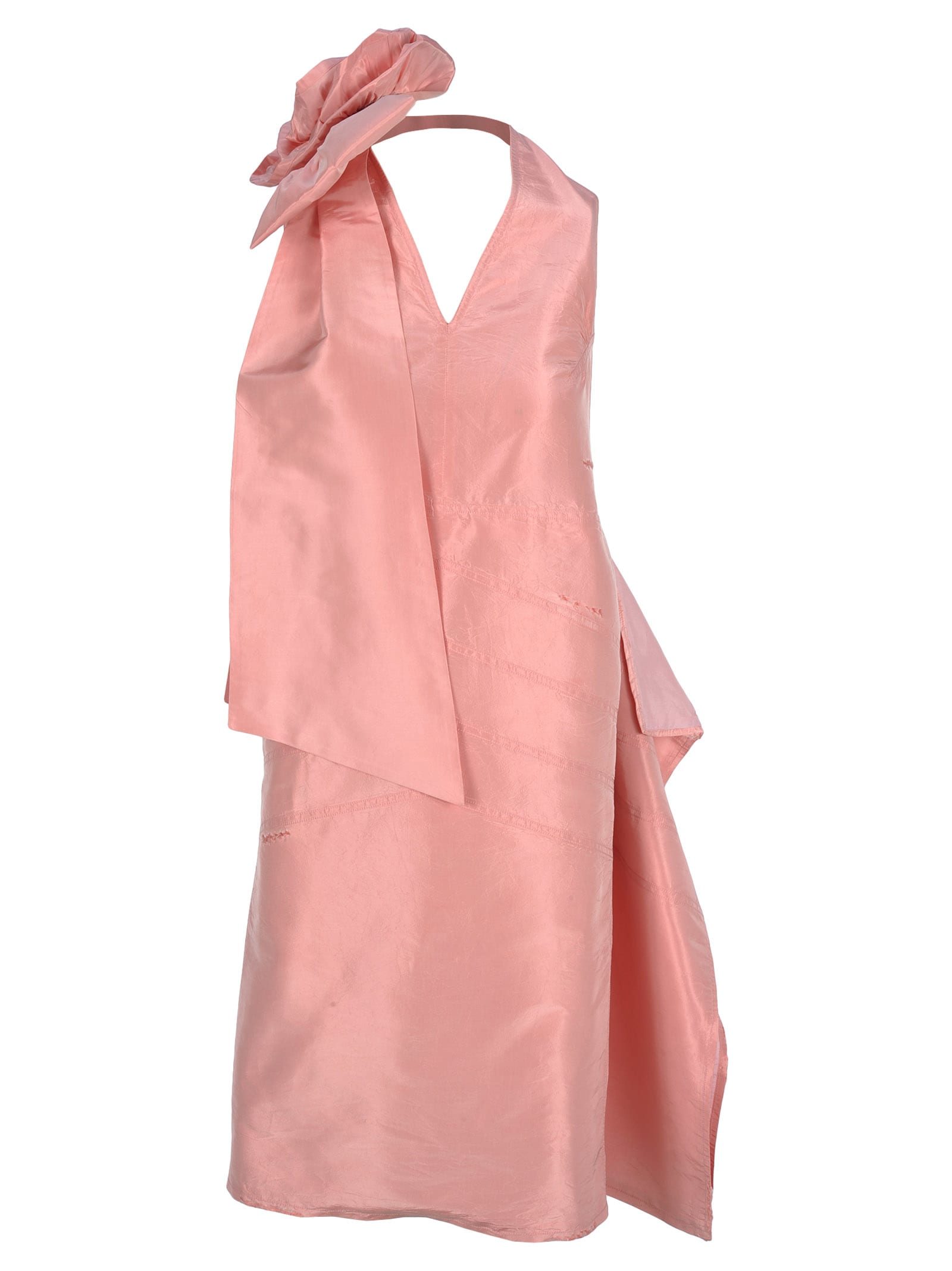 Miu Miu Miu Miu Rose Appliqué Silk-taffeta Dress