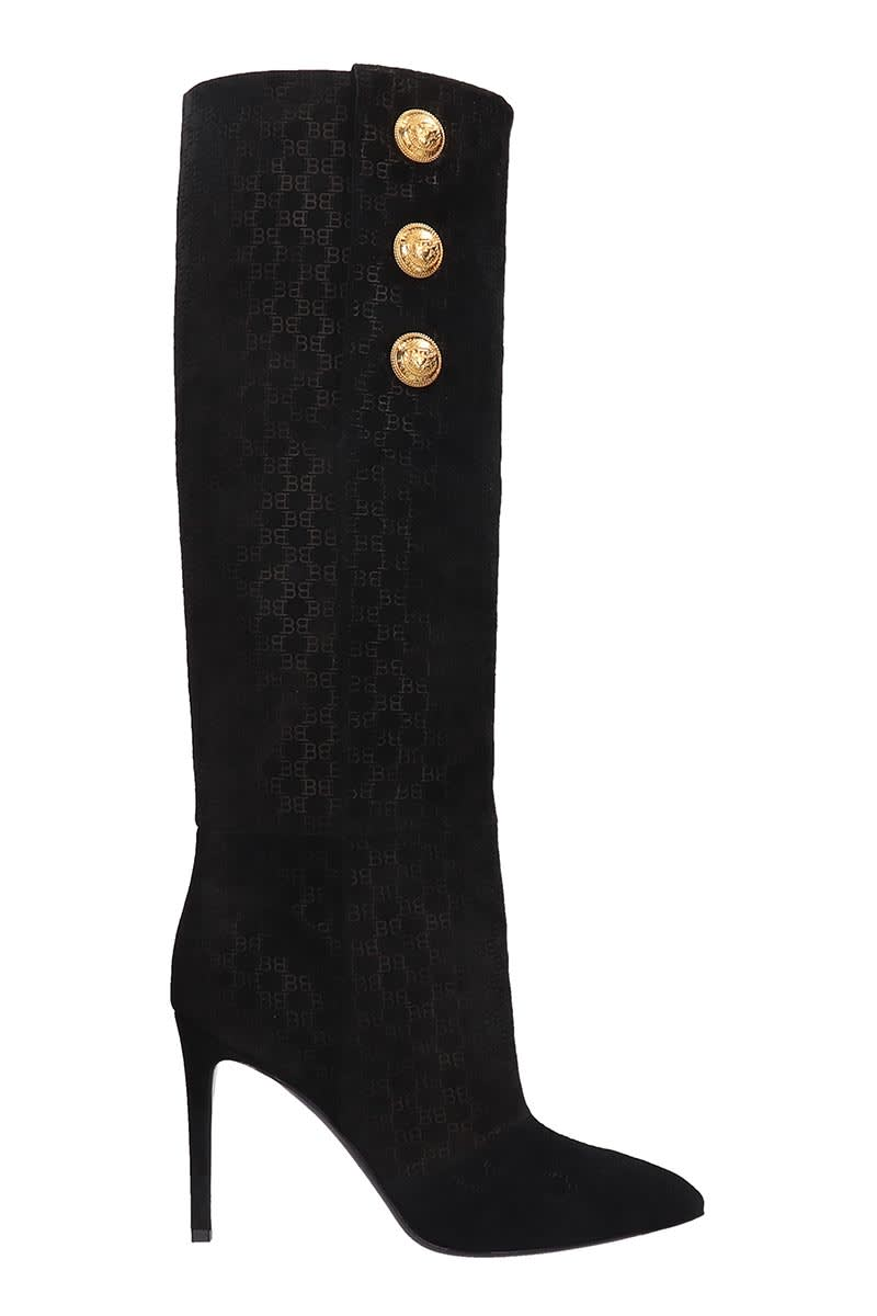 Balmain High Heels Boots In Black Suede