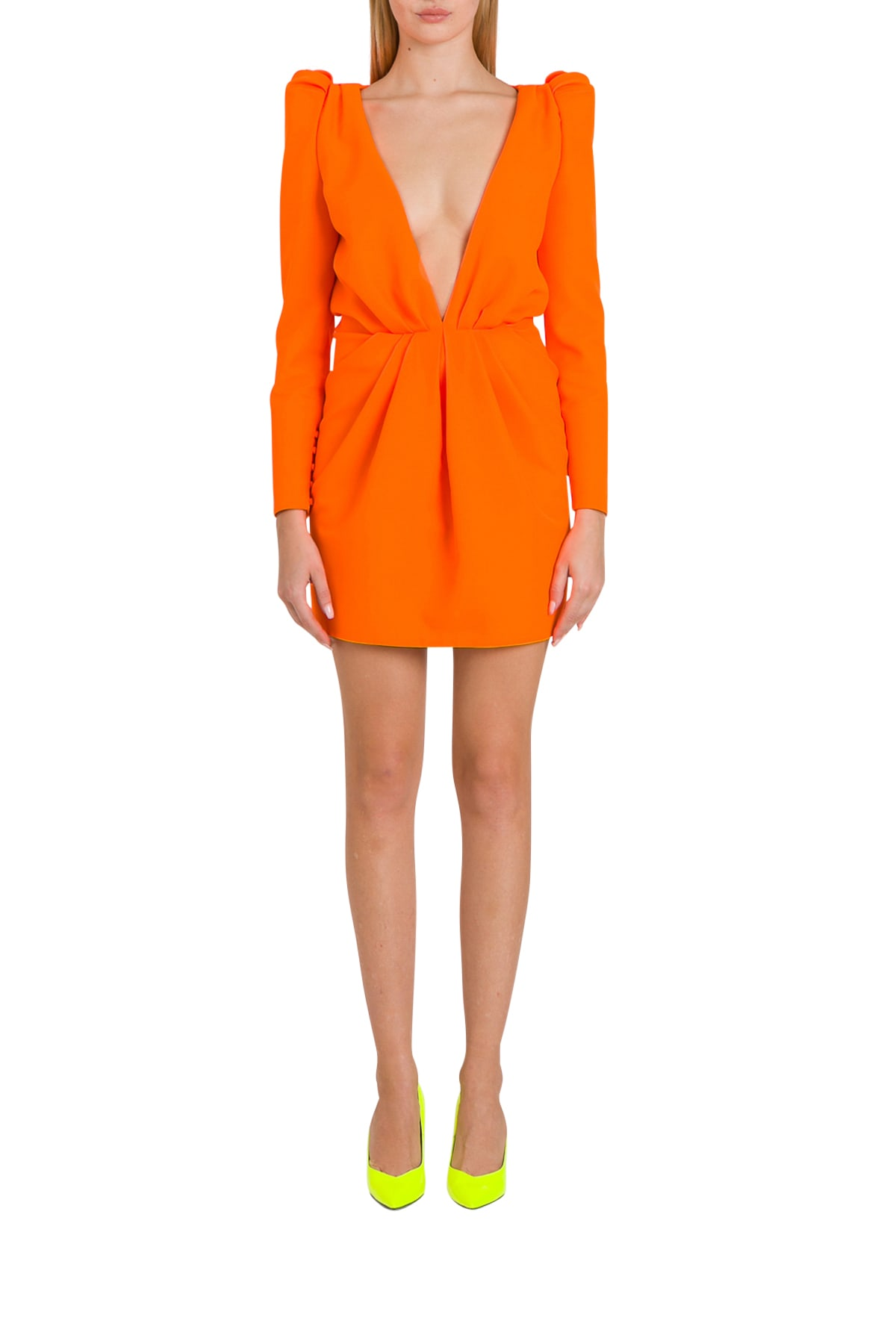 Saint Laurent Plunging V-neck Fluo Mini Dress In Gabardine