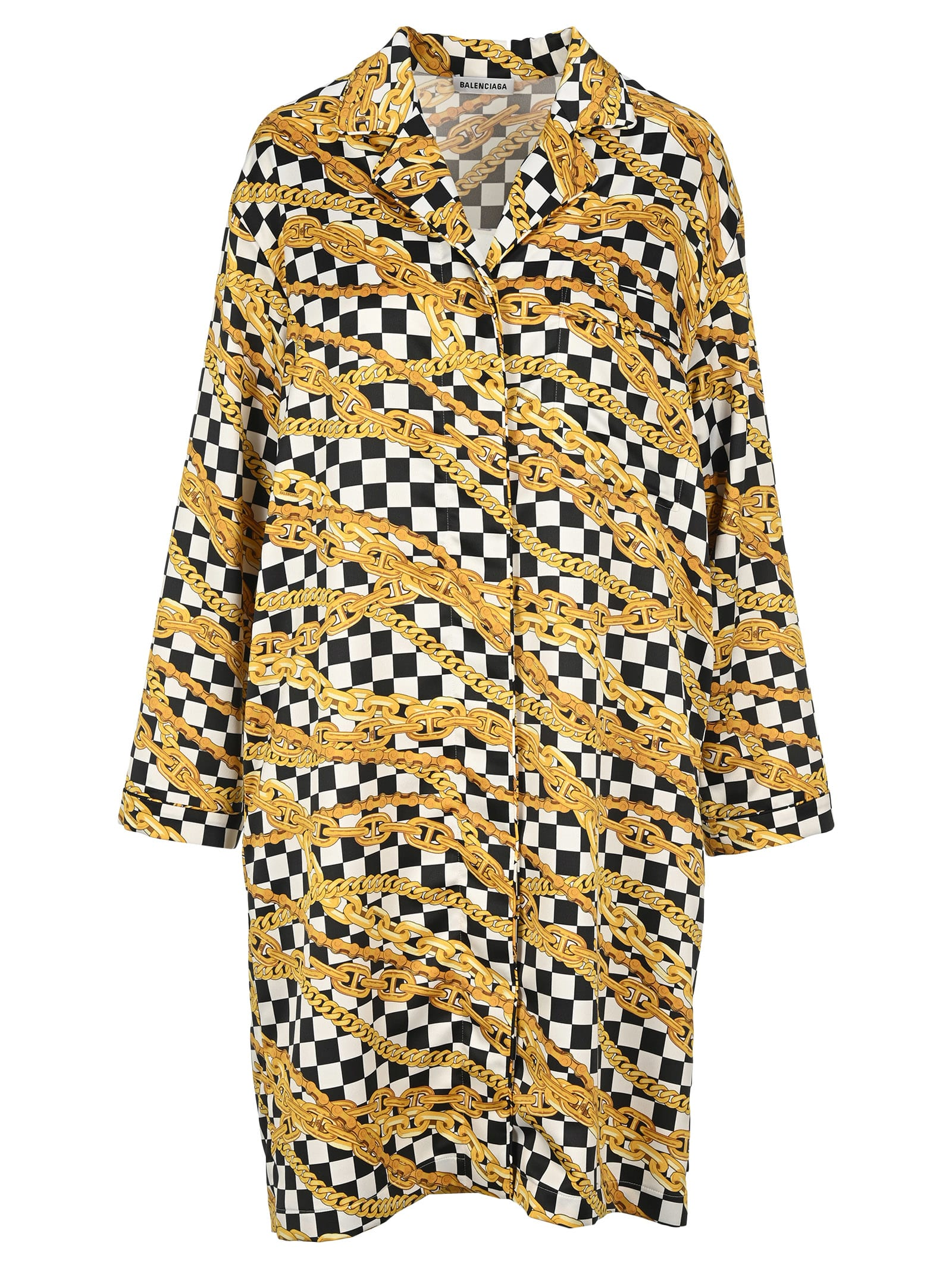 Buy Balenciaga Chain Print Checkerboard Dress online, shop Balenciaga with free shipping