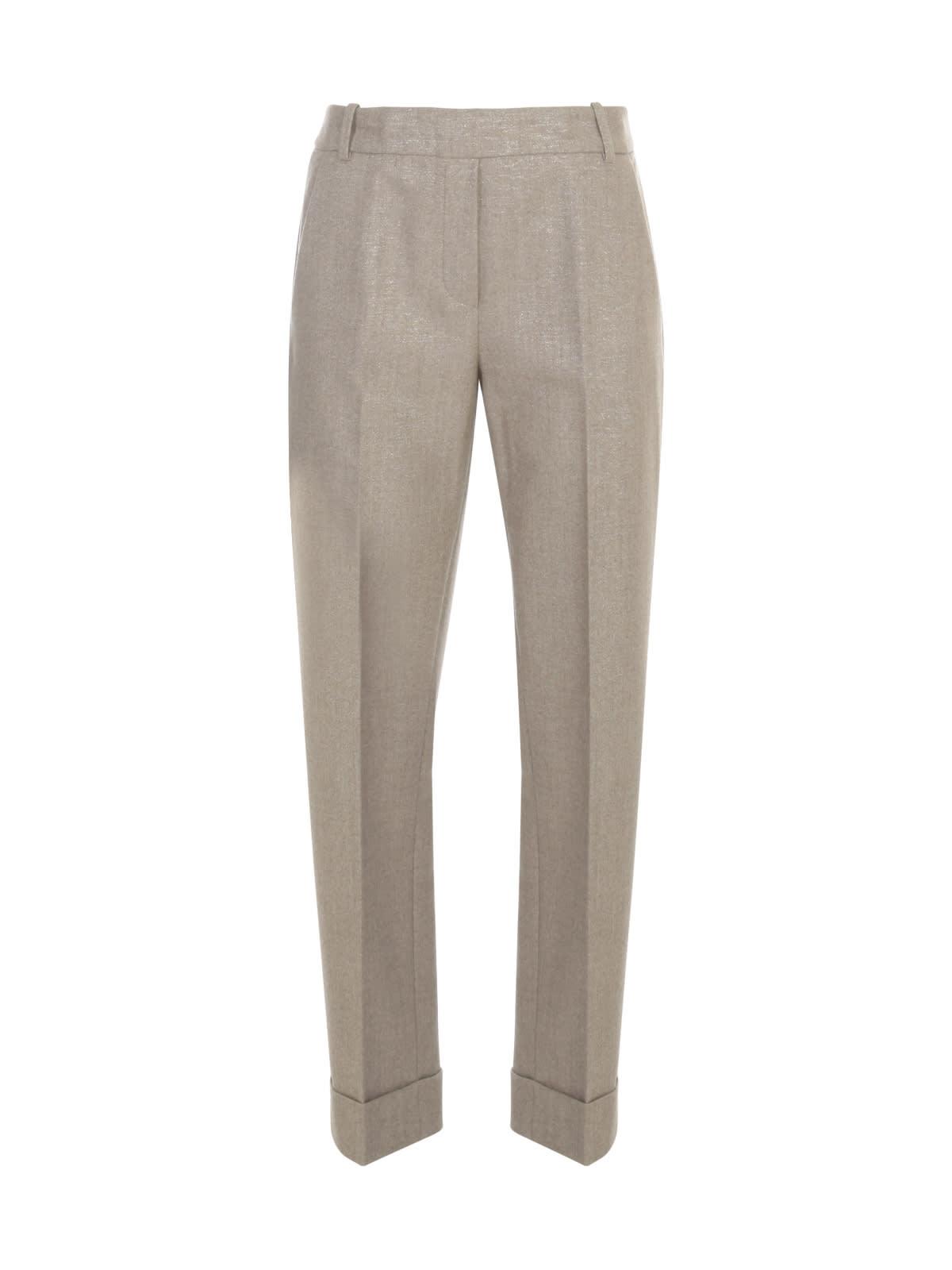 Hugo Flannel Lurex Pants W/lapel