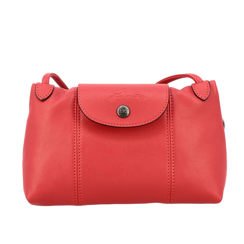 Longchamp Shoulder Bag In Leather In Red