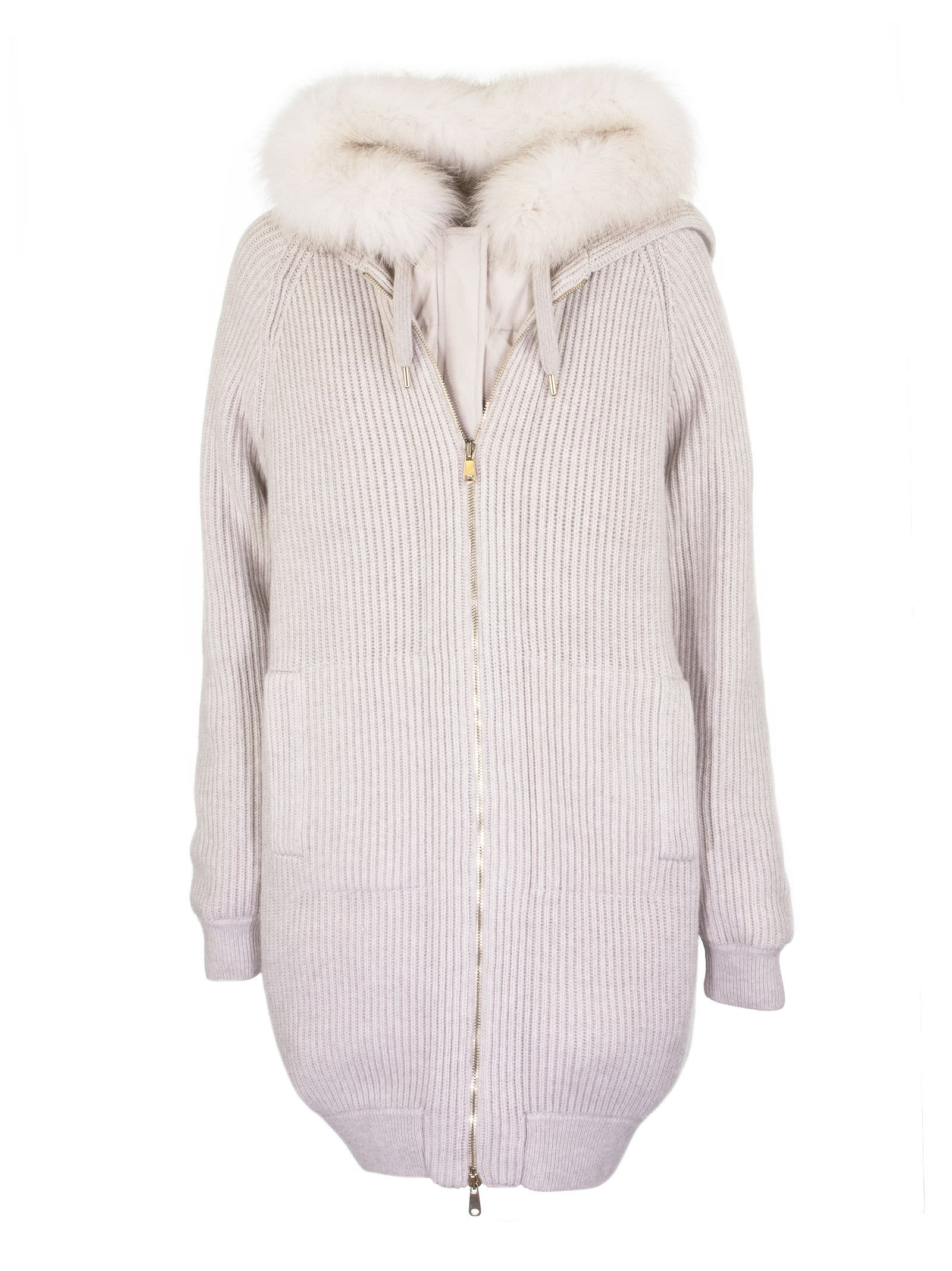 Brunello Cucinelli Sweater With Front Opening With Hood And Fur Beige