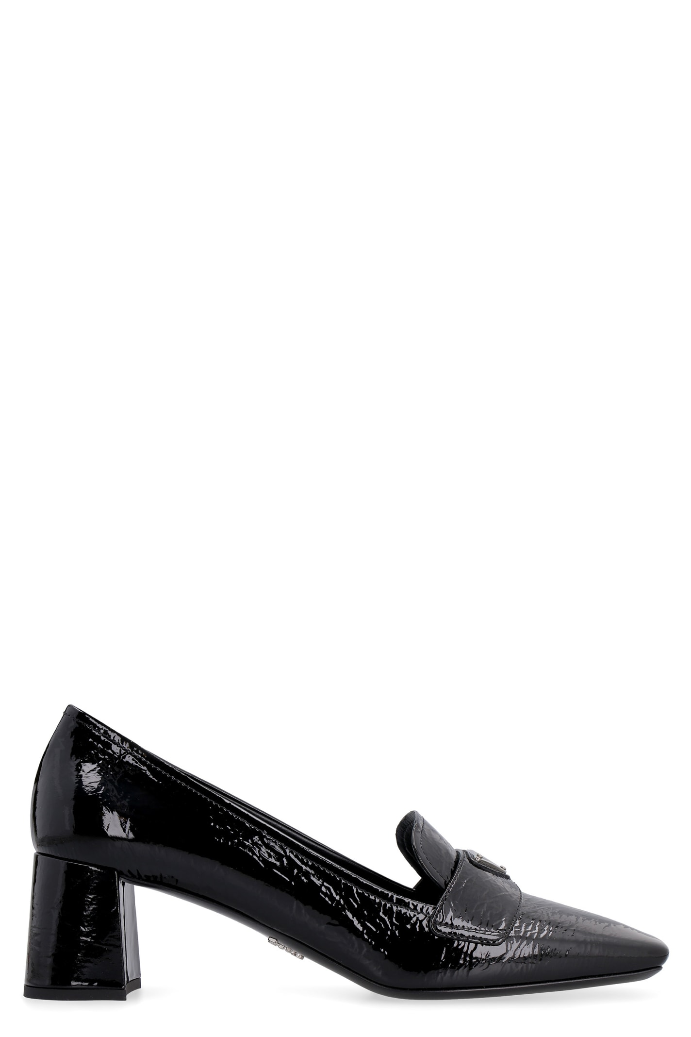 Prada Patent Leather Heeled Loafers In Black