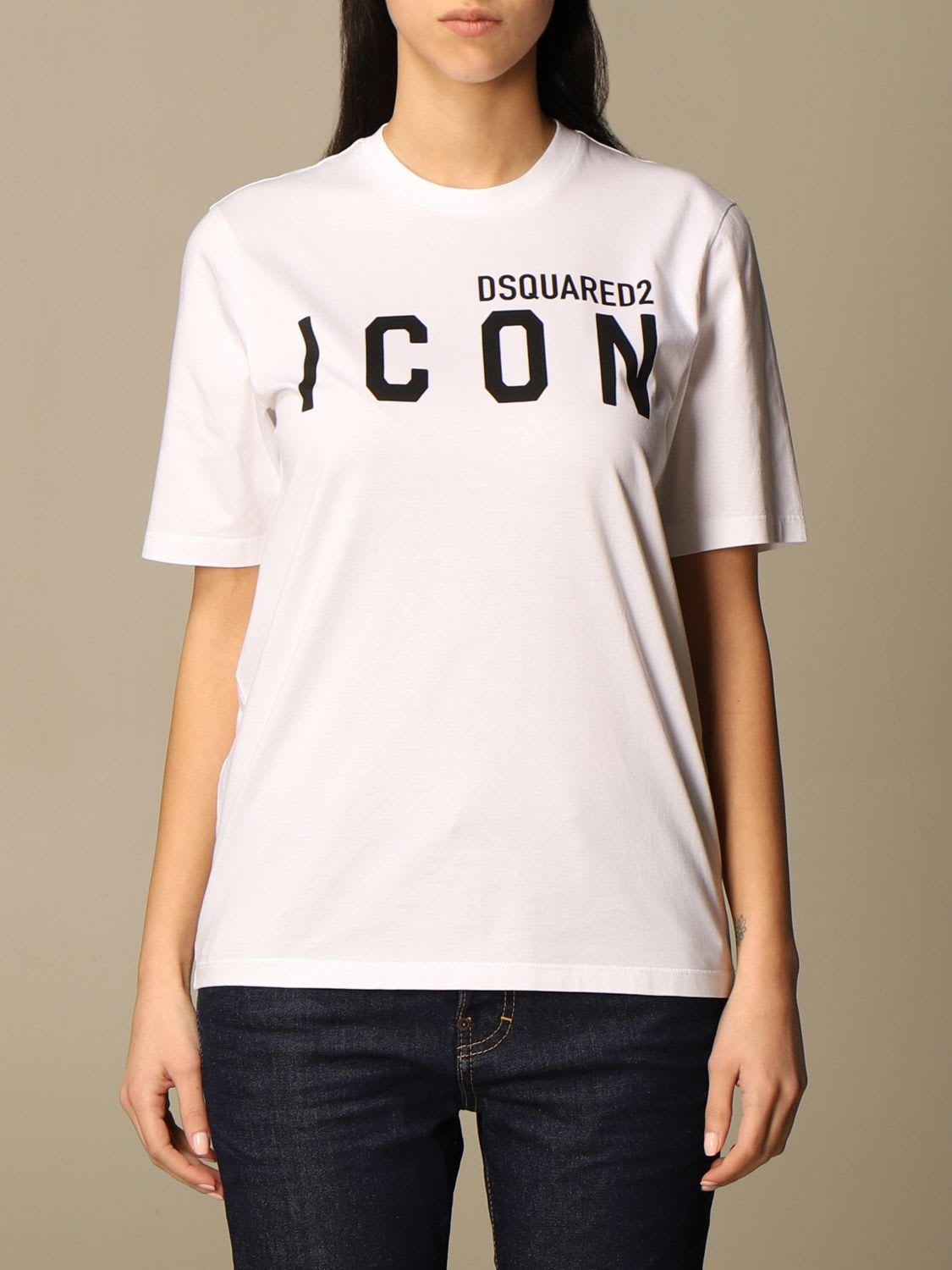 Dsquared2 Cotton T-shirt With Icon Logo In White