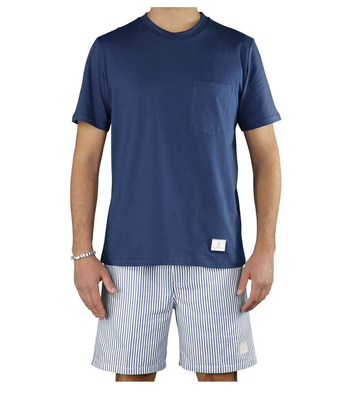 Department 5 MARTIN NAVY BLUE T-SHIRT WITH POCKET