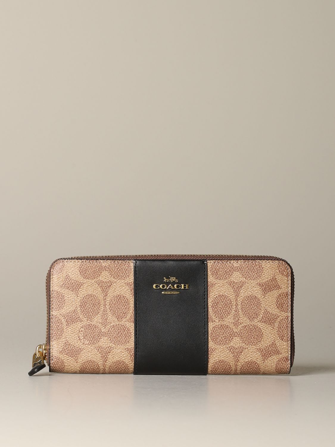 Coach Wallet Coach Continental Wallet In Leather And Coated Canvas With Logo