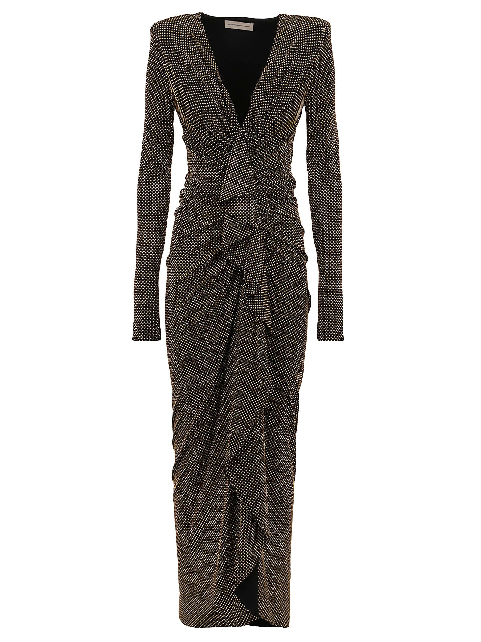 Buy Alexandre Vauthier Studded Long V Dress online, shop Alexandre Vauthier with free shipping