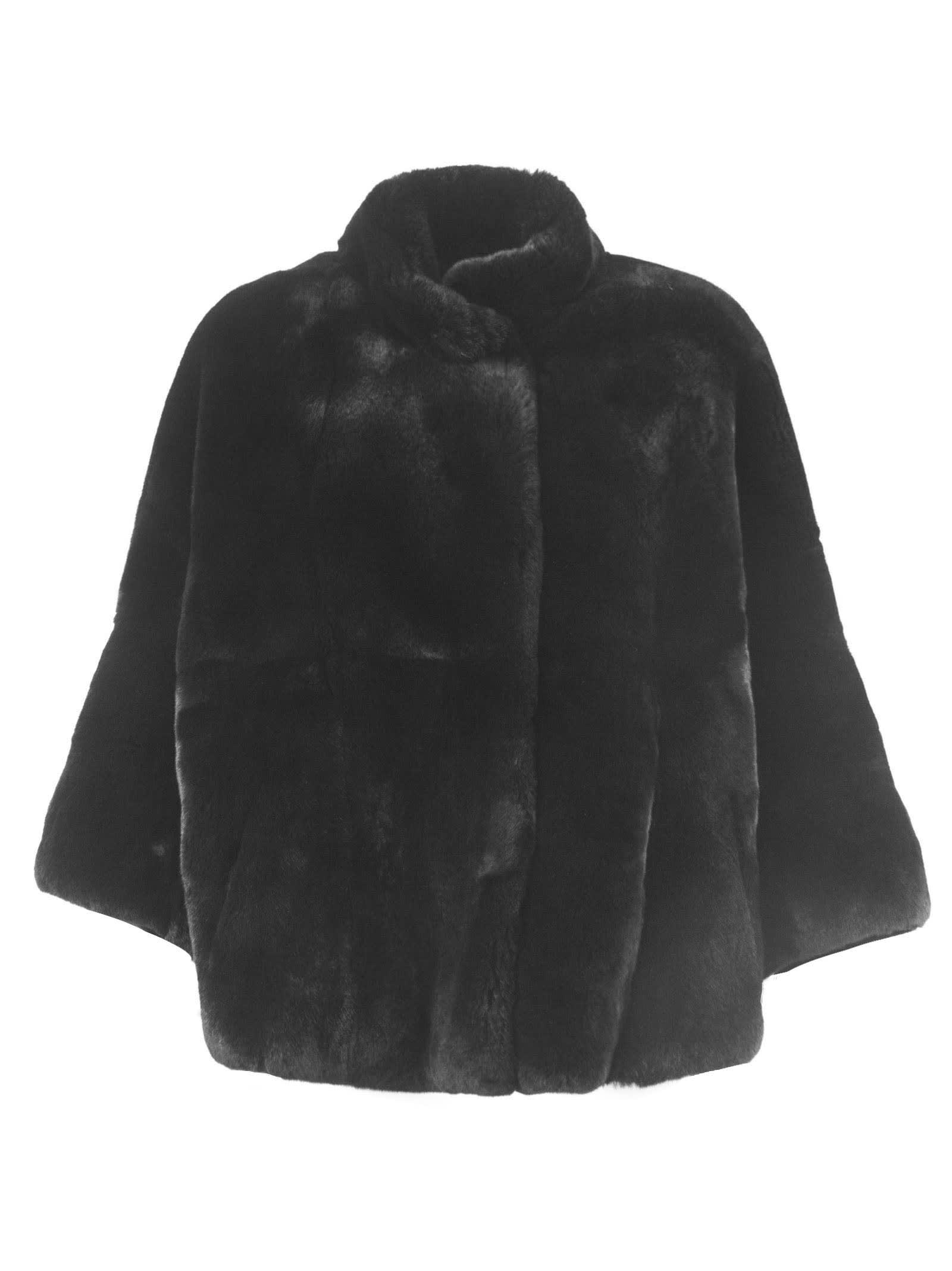 S.W.O.R.D 6.6.44 Charcoal Rabbit Fur Shearling Button-up Coat