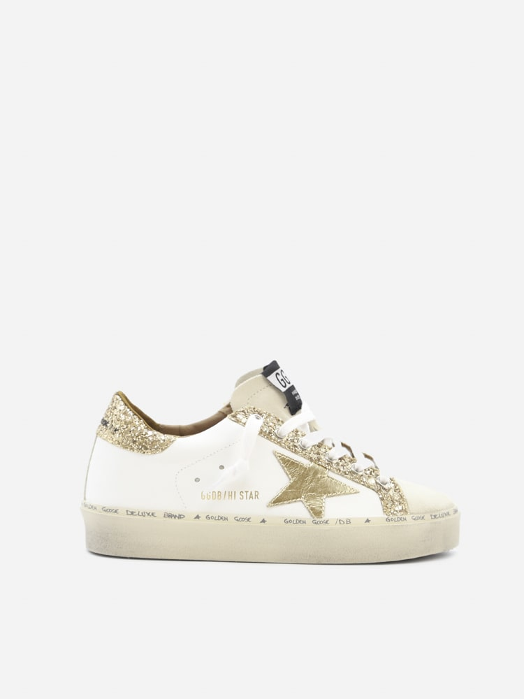 Golden Goose Hi Star Sneakers In Leather With Glitter Inserts