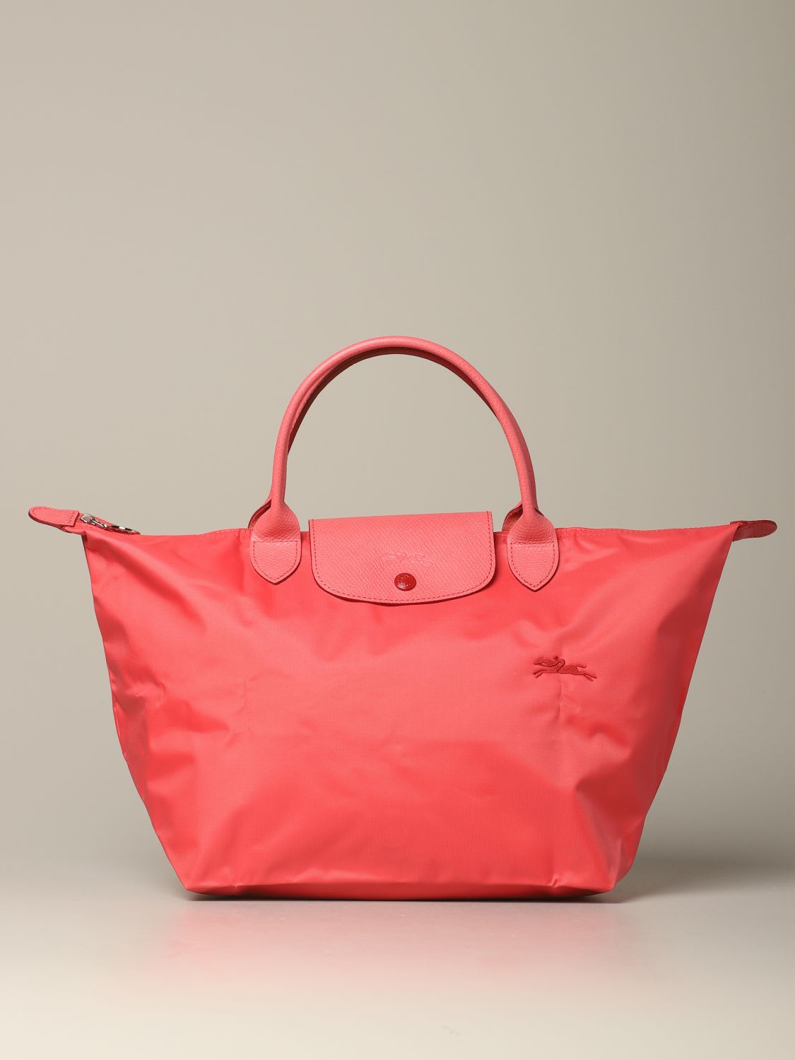 Longchamp Bag In Nylon With Embroidered Logo In Geranium