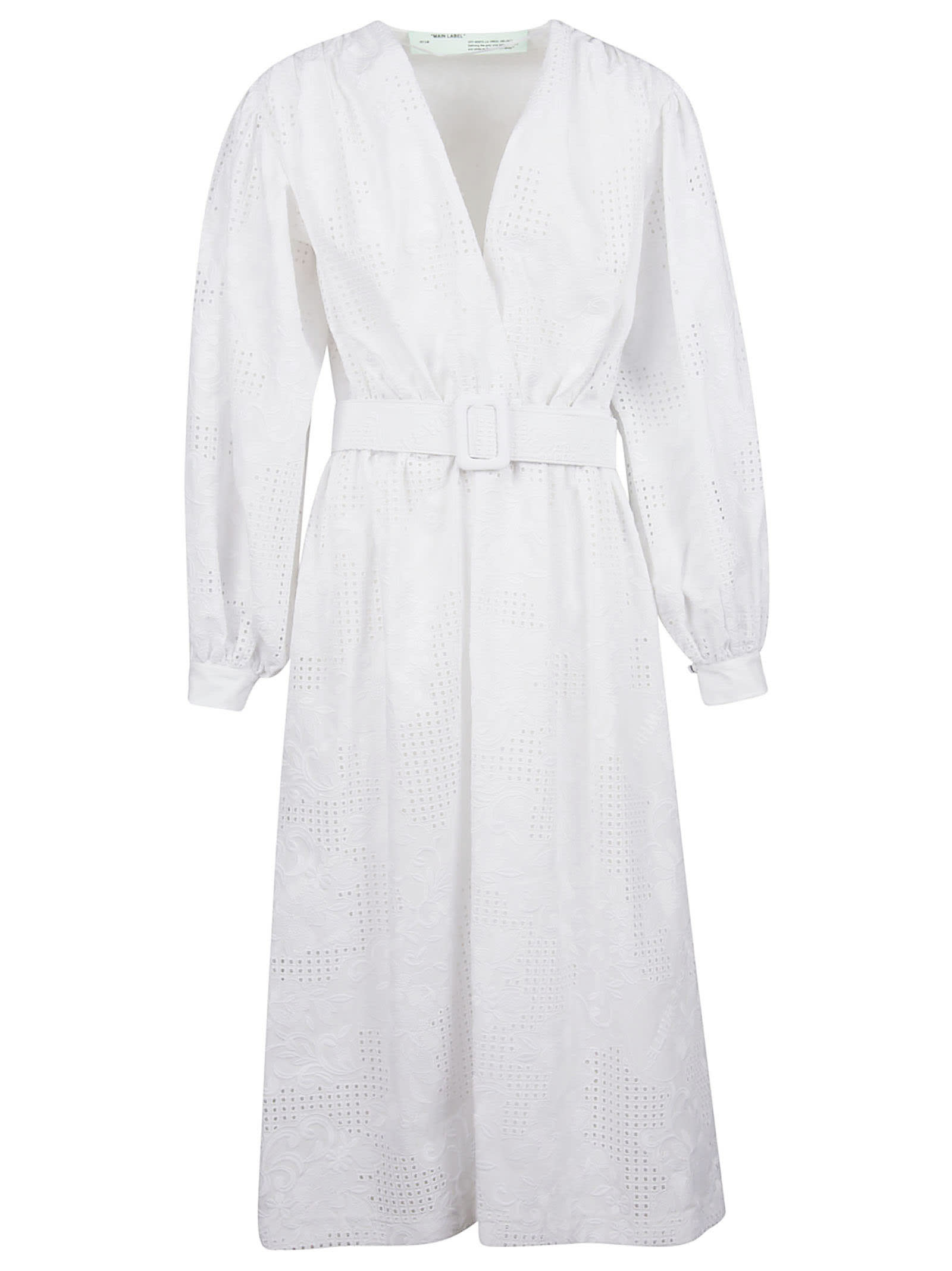 Off-White Poplin Midi Dress