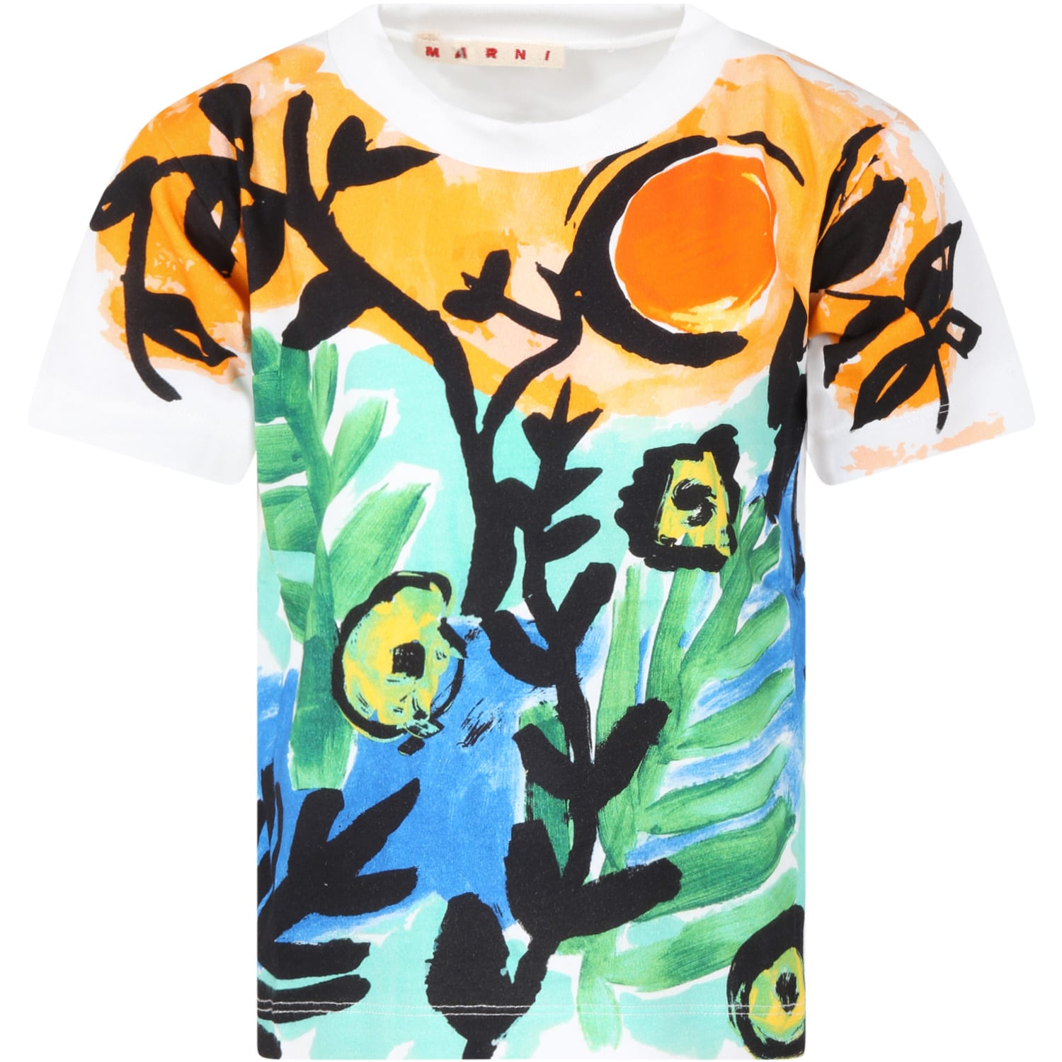 Marni WHITE T-SHIRT FOR GIRL WITH FLOWERS