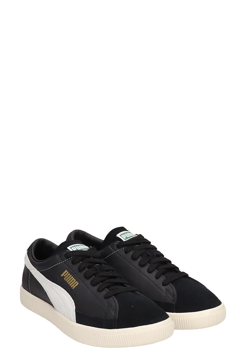 Puma Basket 90680 Black Leather And Suede Sneakers