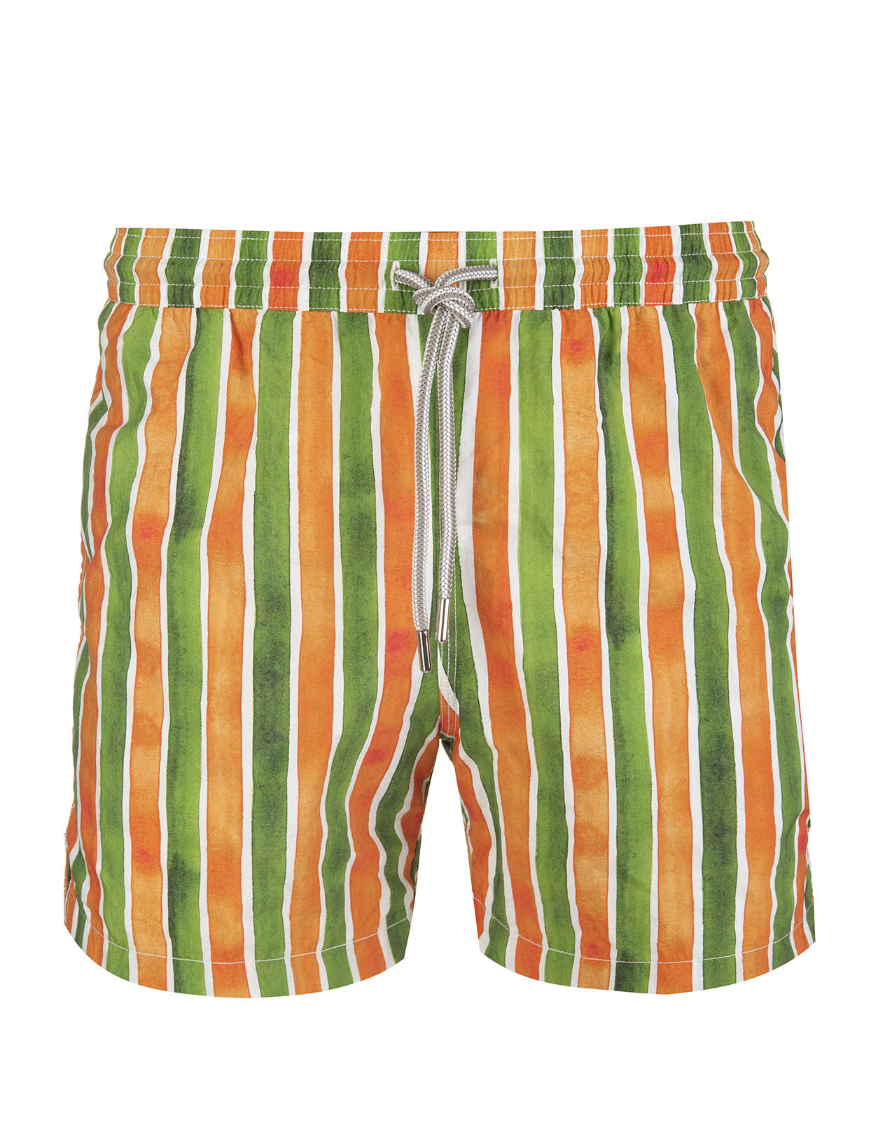 Green And Orange Striped Swimsuit