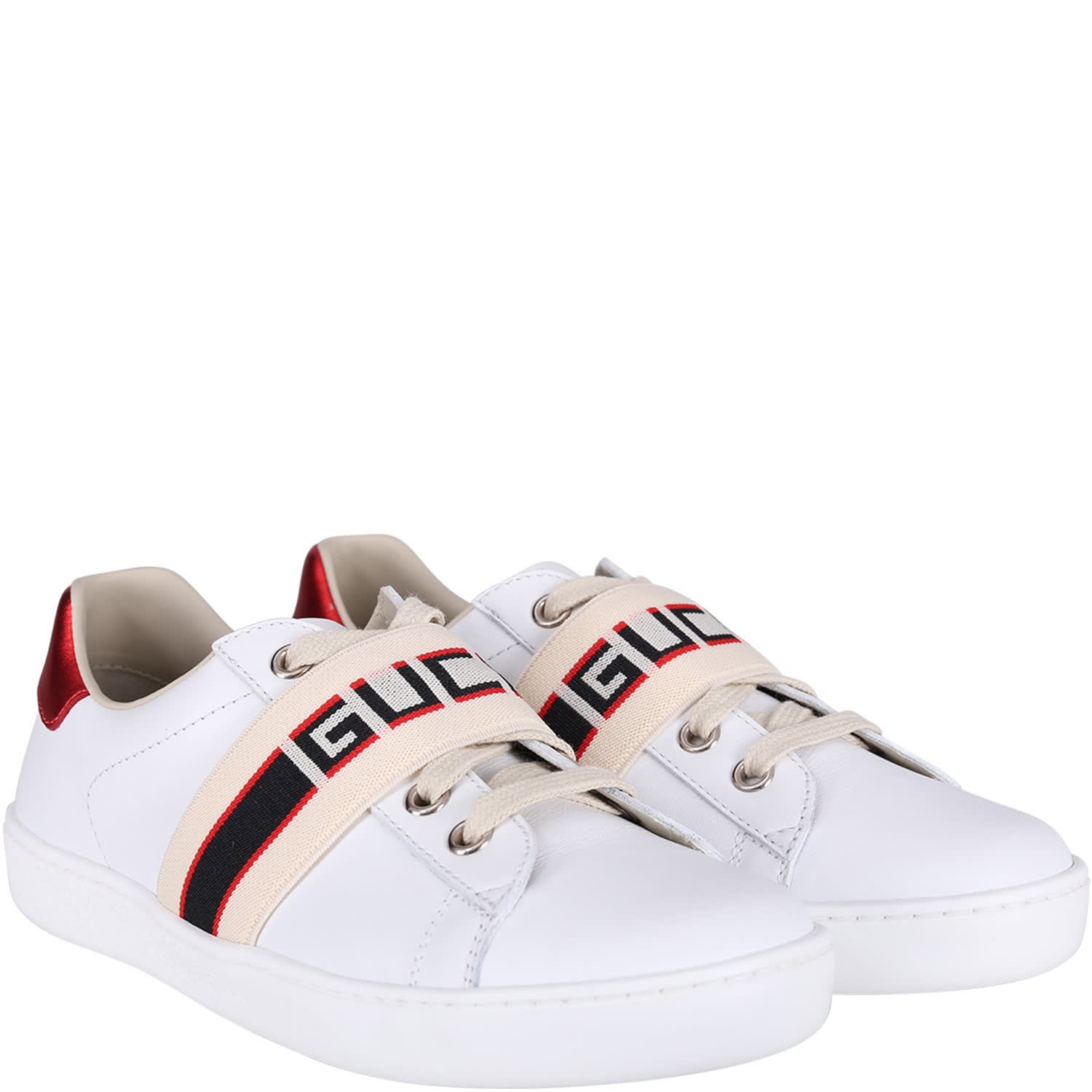 b6bd2c2980 Gucci White Kids Sneakers With Blue And Red Logo