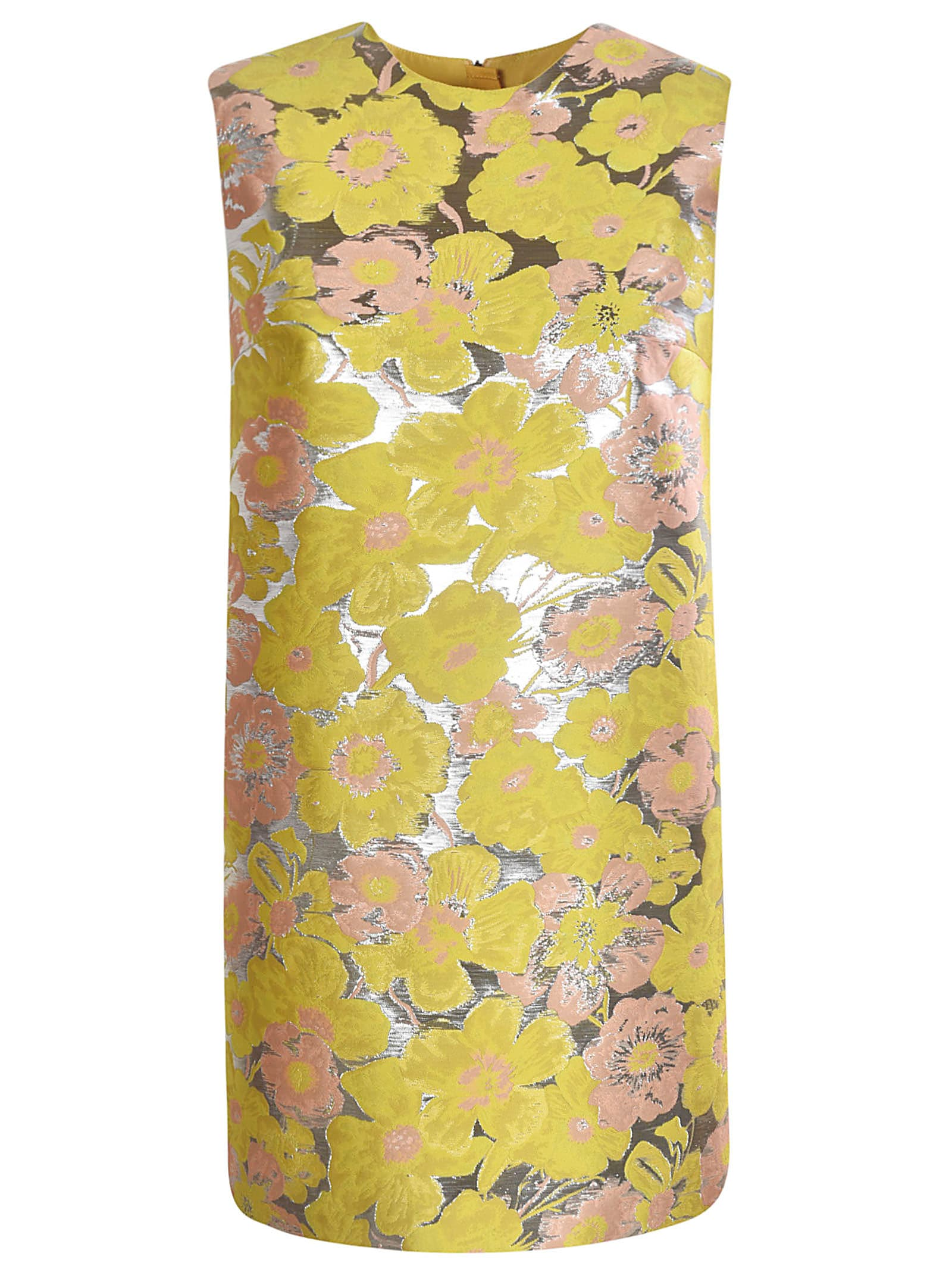 Buy MSGM Sleeveless Floral Print Metallic Dress online, shop MSGM with free shipping