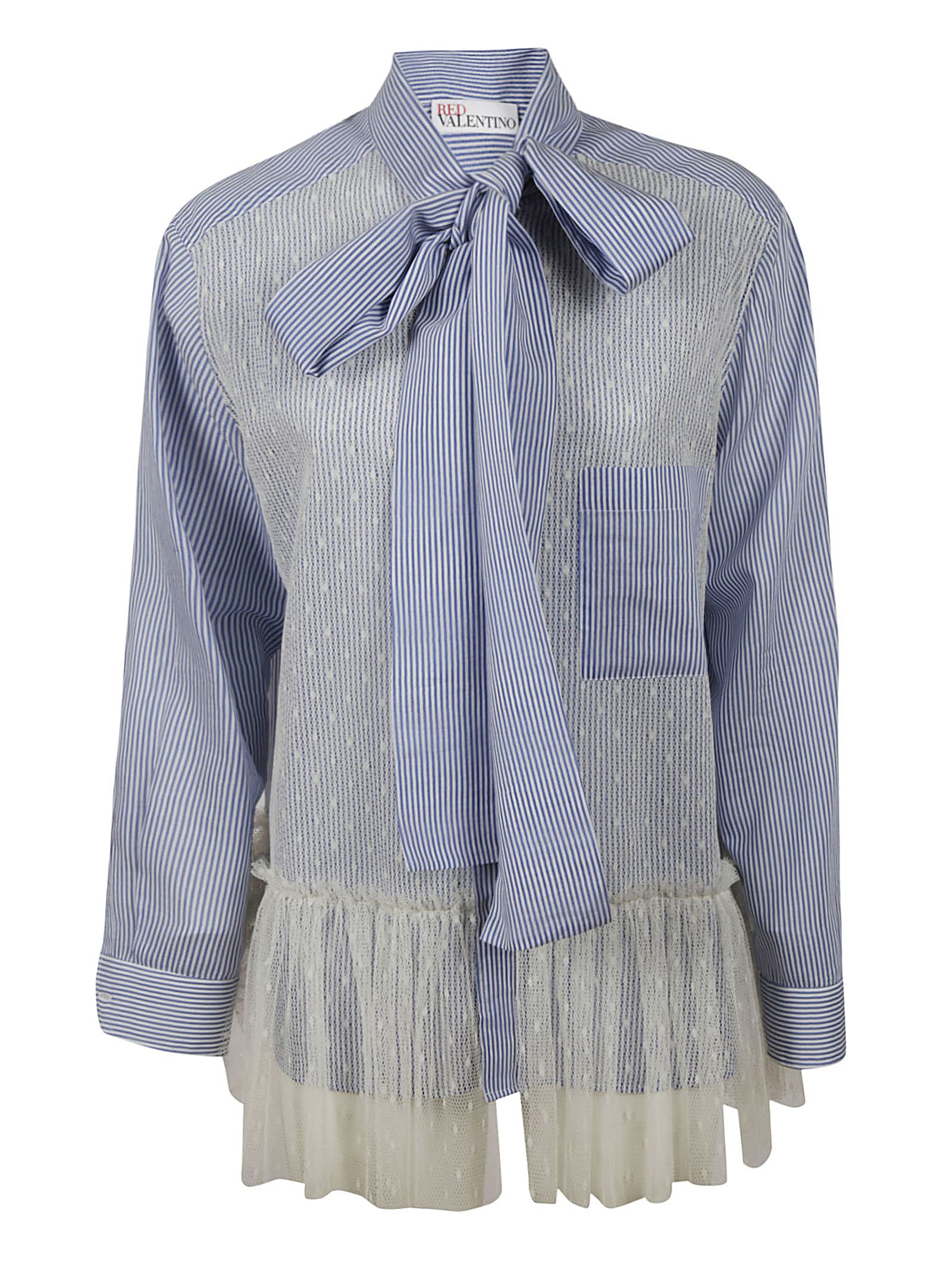 Stripe Lace Bow Shirt