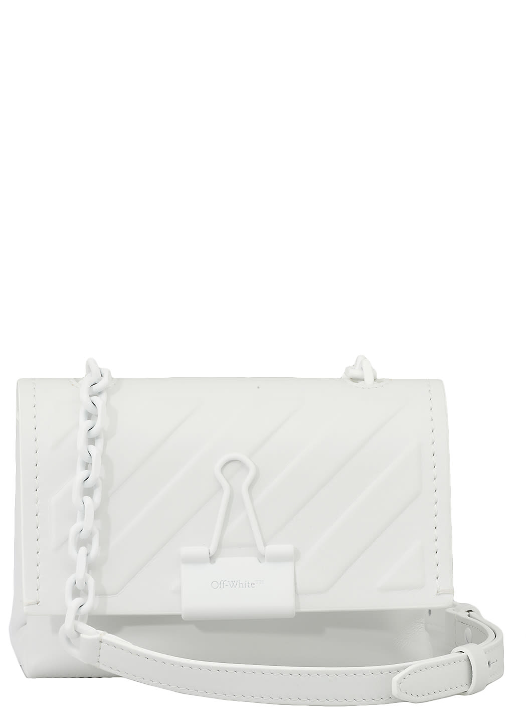 Off-White Leathers DIAG EMBOSSED SMALL BINDER CLIP BAG