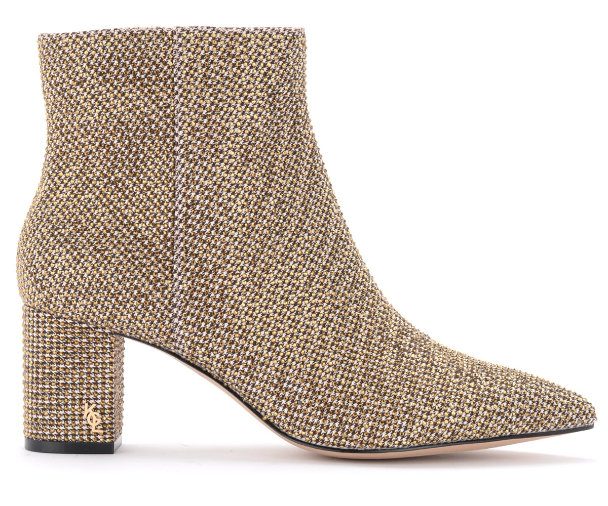 Burlington Ankle Boot In Brown Tweed With Micro-studs