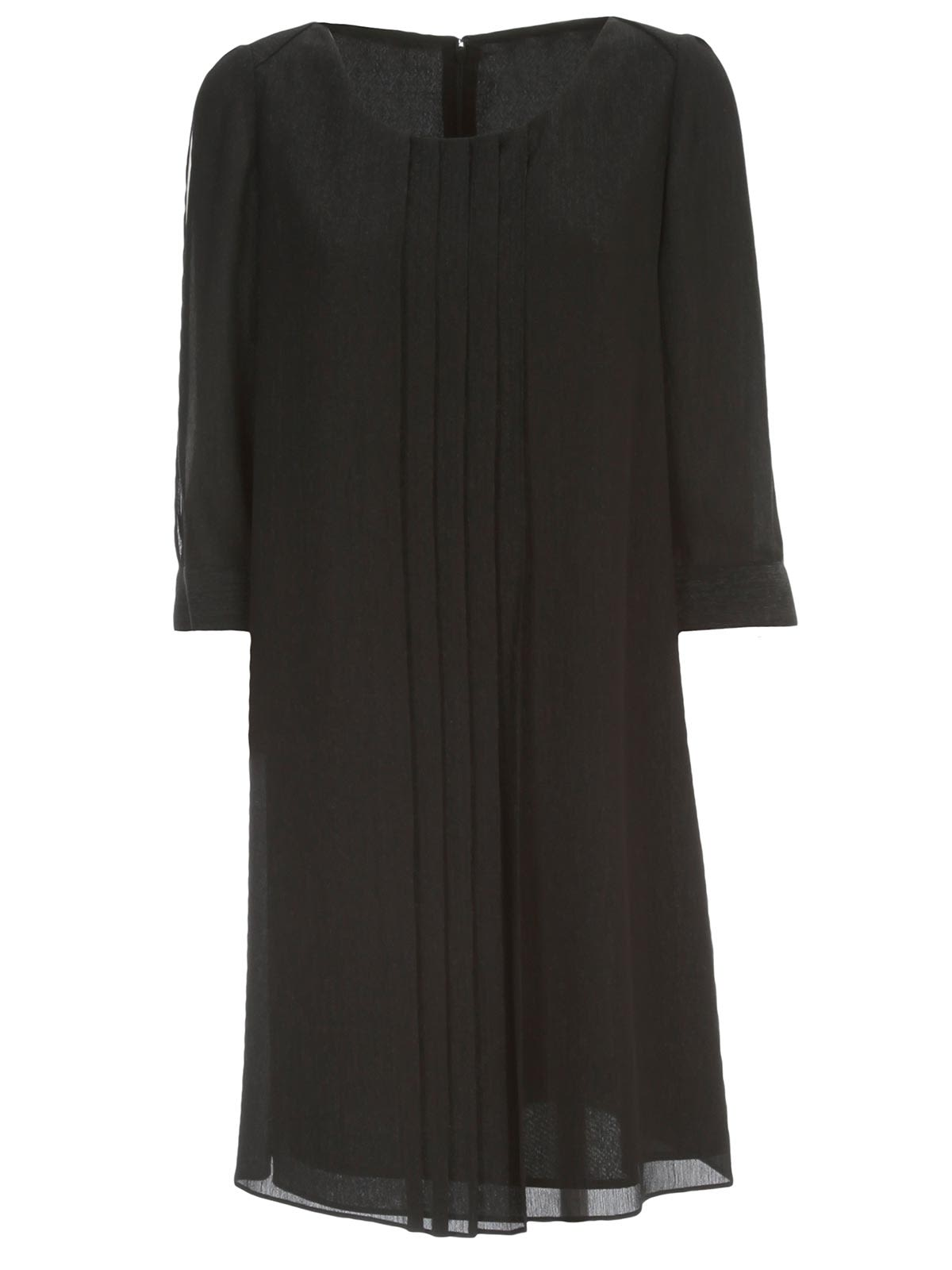 Buy Emporio Armani Pleated Dress 3/4s Crepe Lurex online, shop Emporio Armani with free shipping